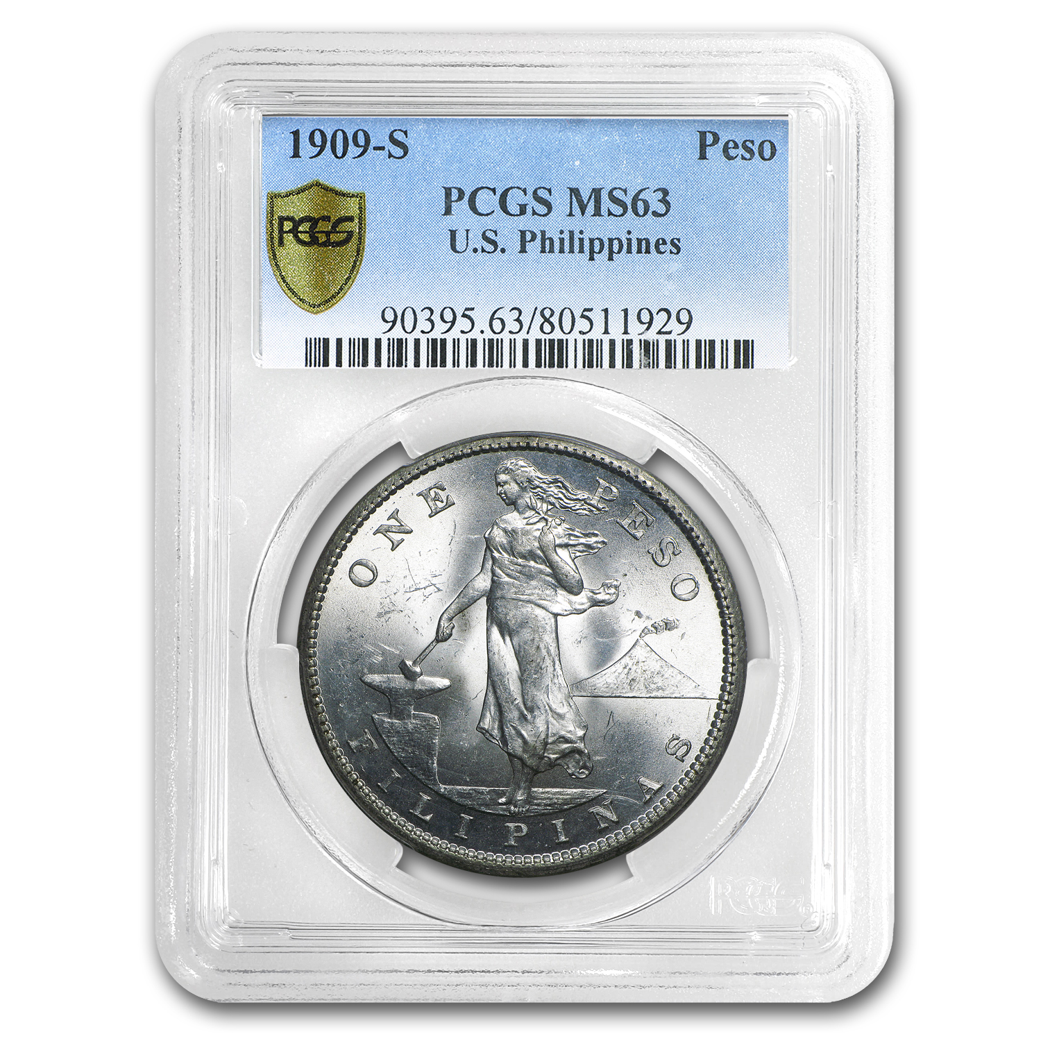 1909-S Philippines Silver Peso MS-63 PCGS