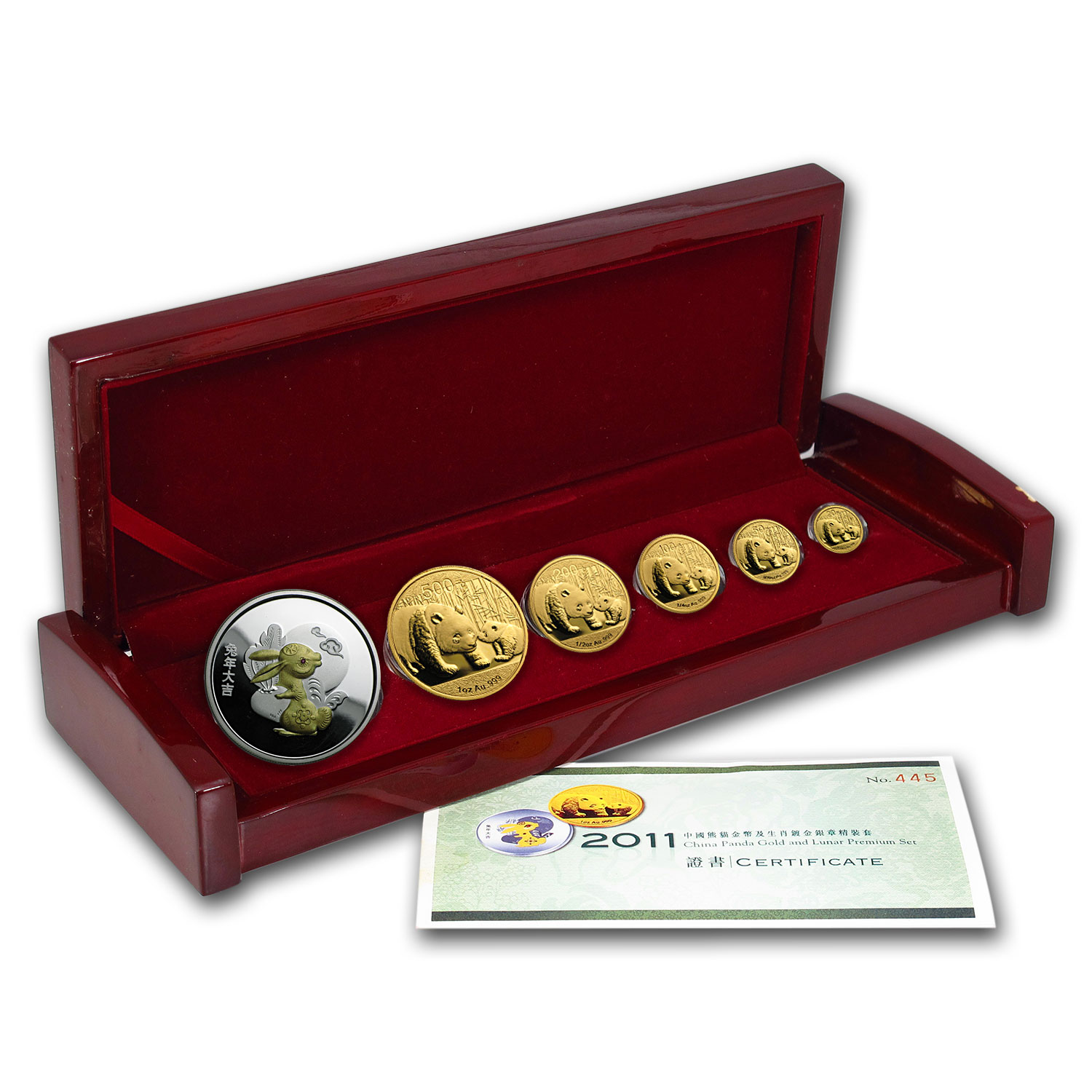 2011 China 6-Coin Gold Panda & Lunar Premium Rabbit Set BU