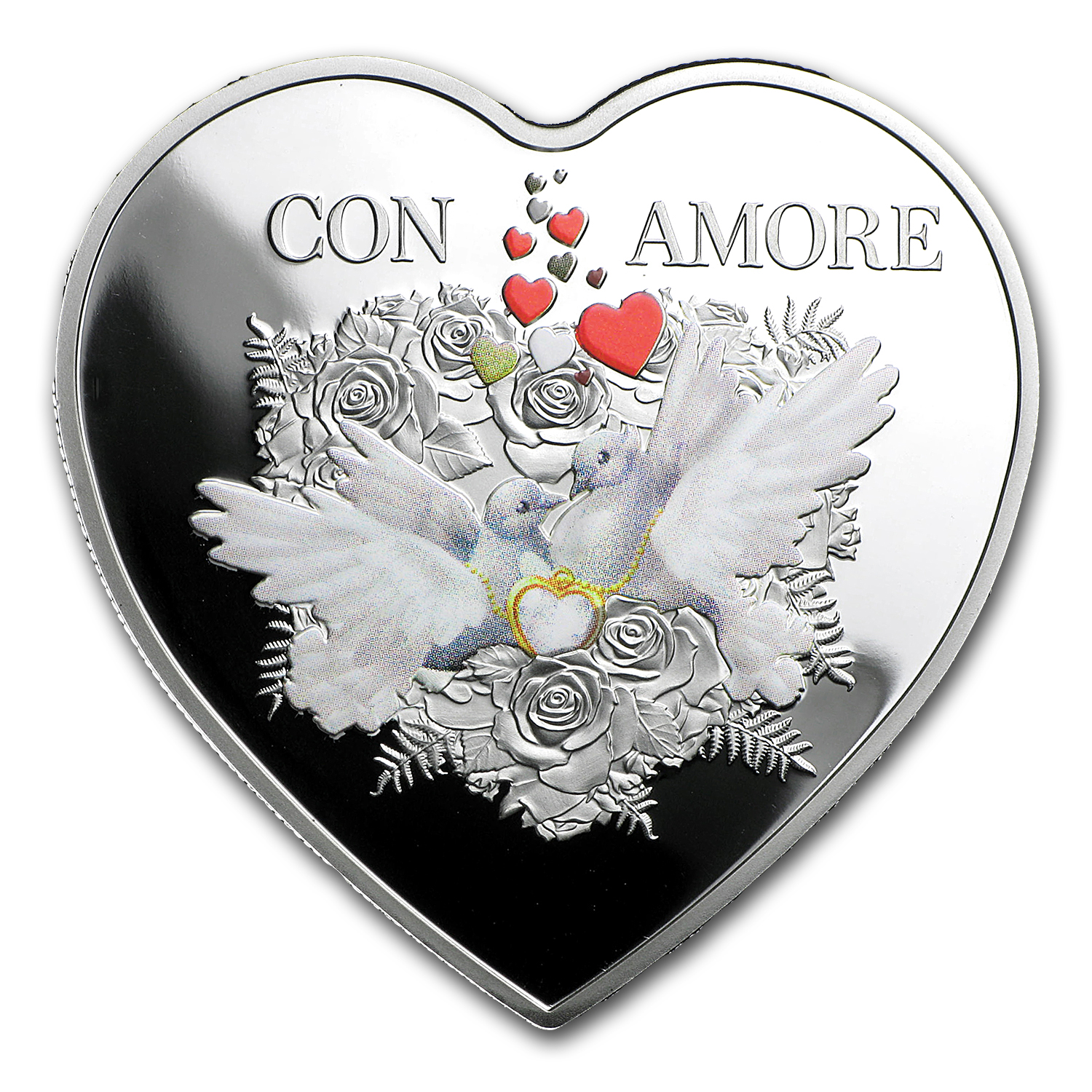 2016 Tokelau Proof 20 gram Silver Con Amore Heart Shaped Coin