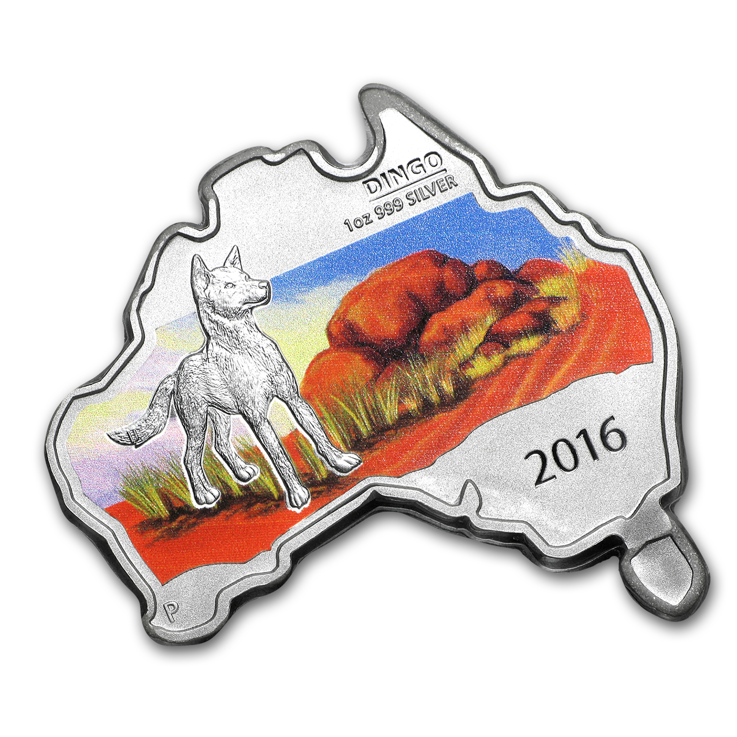 2016 Australia 1 oz Silver Wild Dingo (Map Shape)