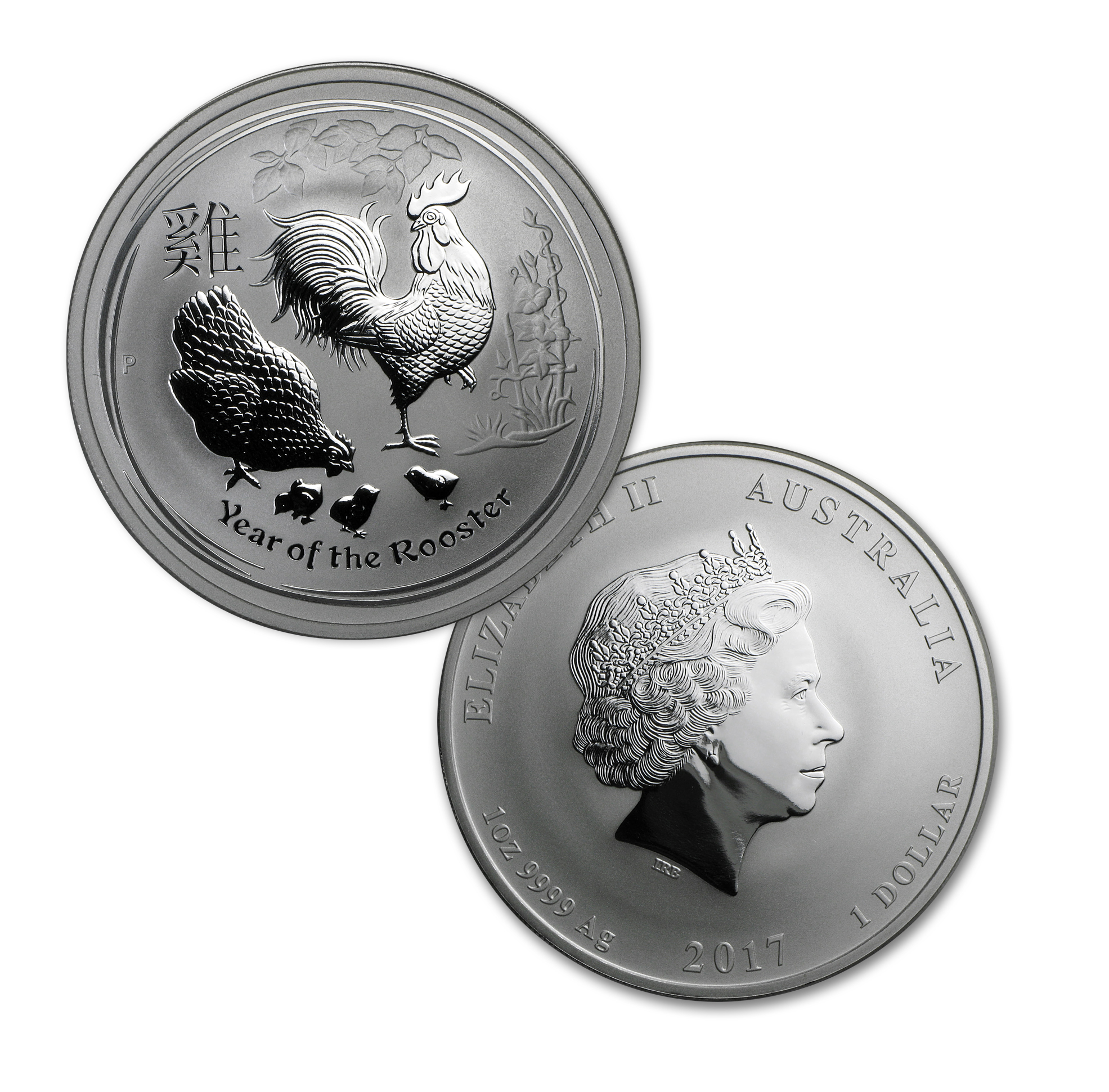 2017 Australia 4-Coin 1 oz Silver Lunar Rooster Type Set