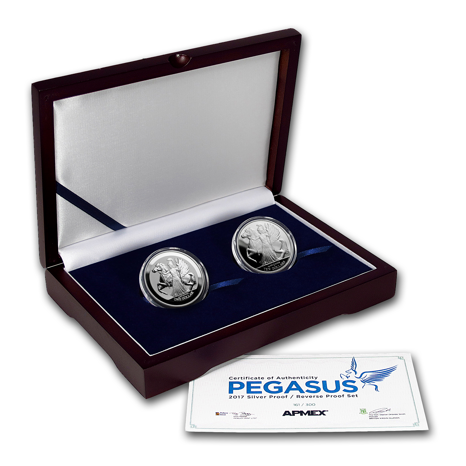 2017 BVI 2-Coin Silver Pegasus Proof/Reverse Proof Set