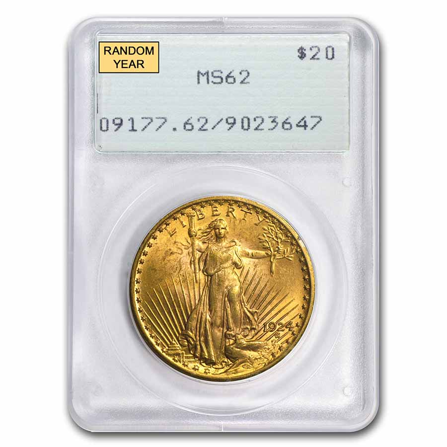 $20 Saint-Gaudens Gold Double Eagle MS-62 PCGS (Rattler. Random)