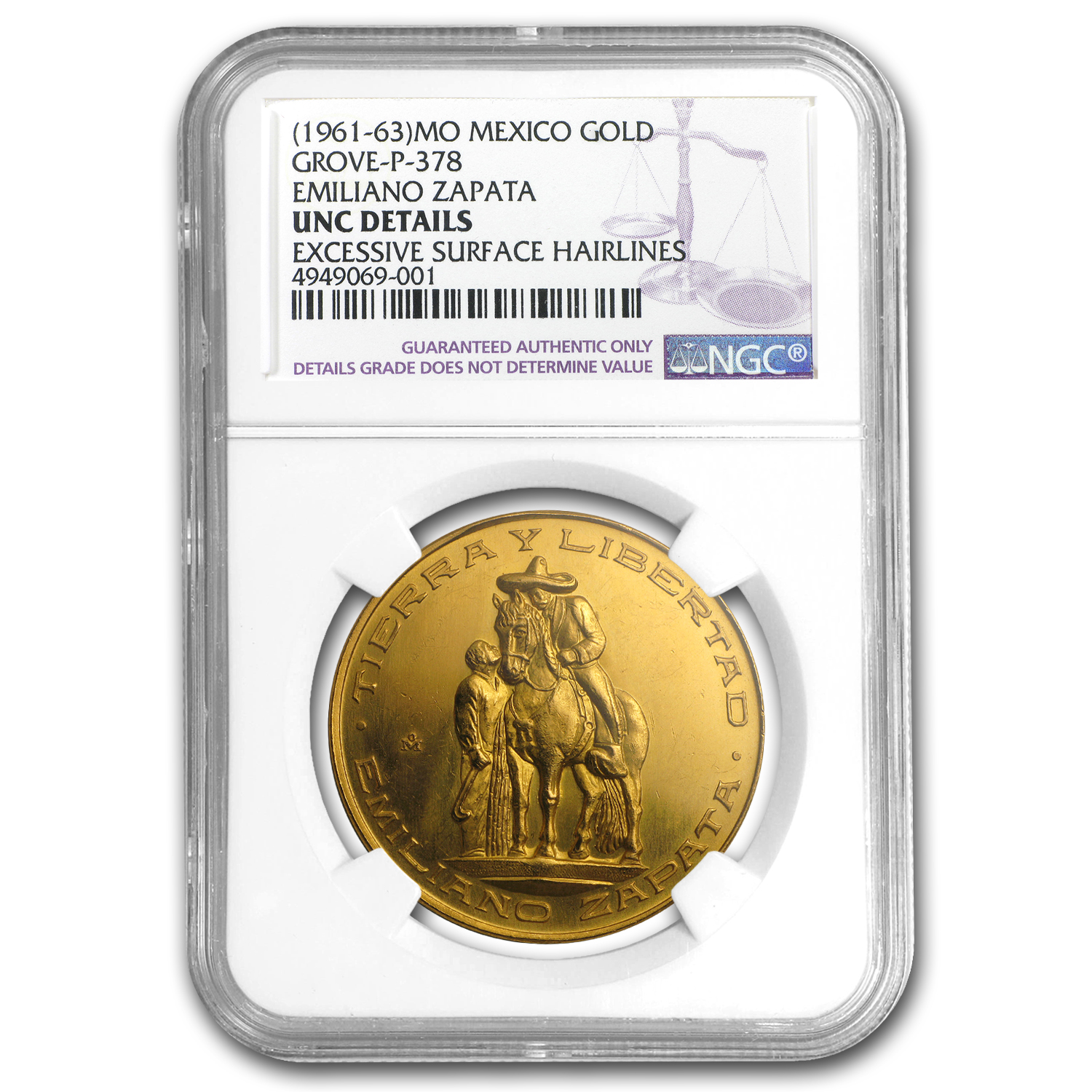 (1961-63) Mexico Gold Emiliano Zapata Medal Unc Details NGC