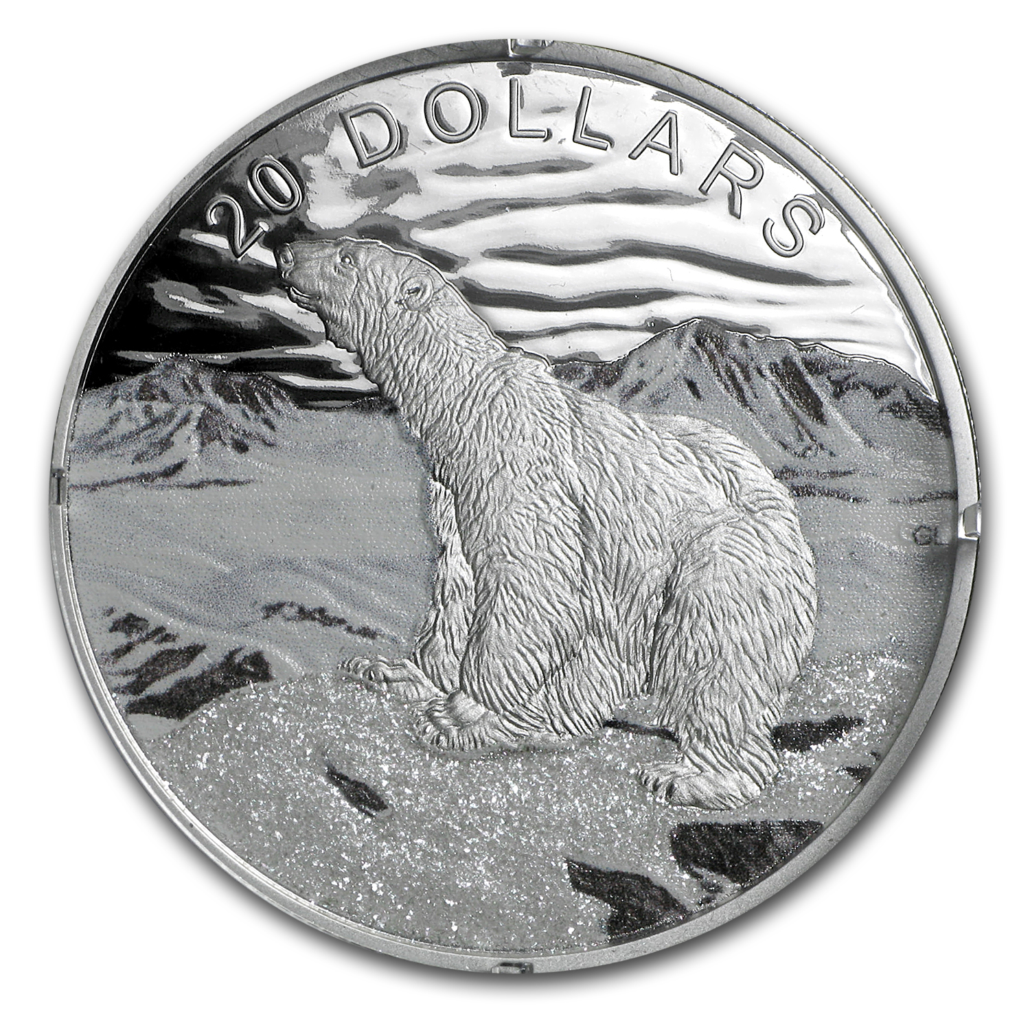 2017 1 oz Silver Proof $20 Glistening North: The Polar Bear