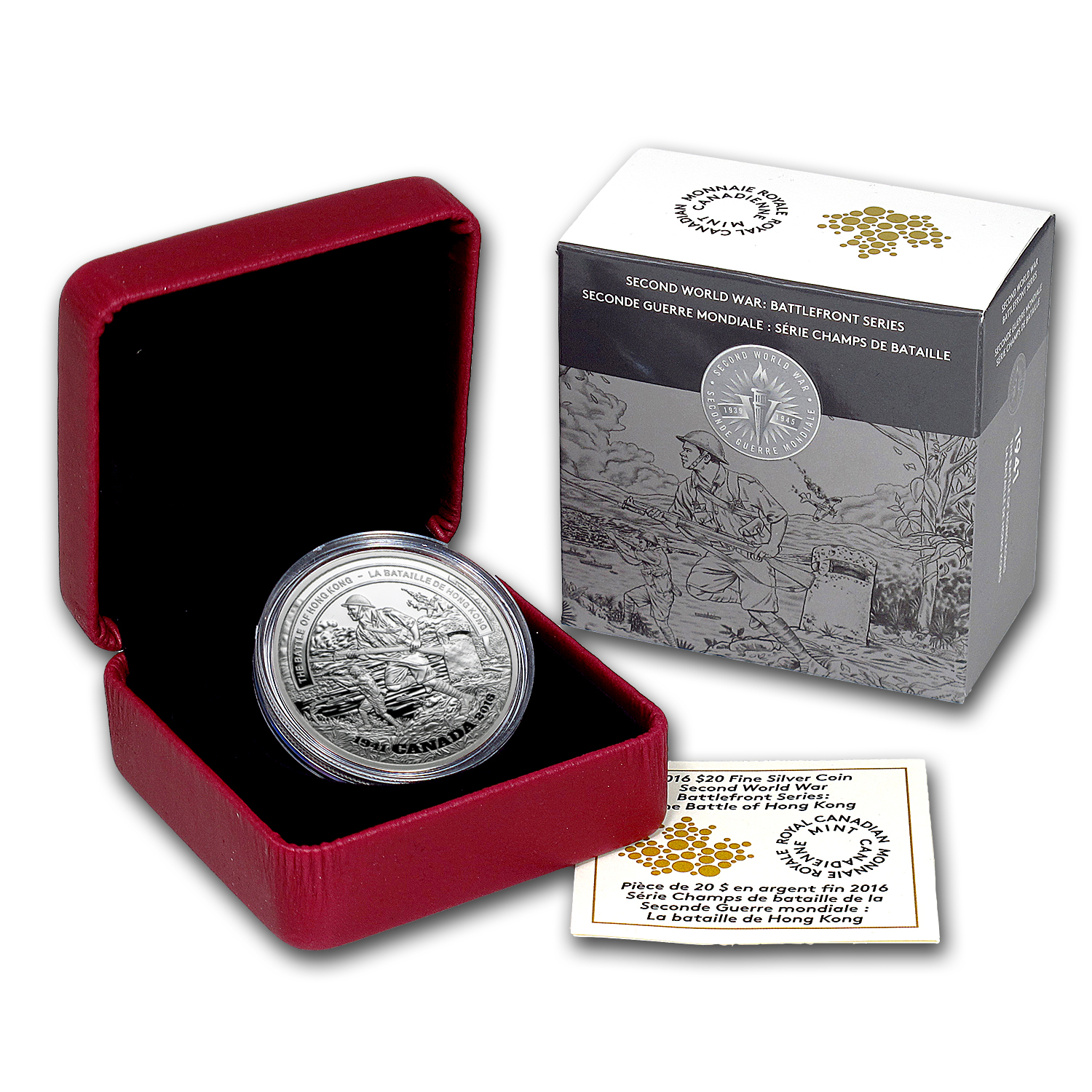 2016 1 oz Proof Silver $20 Battle of Hong Kong