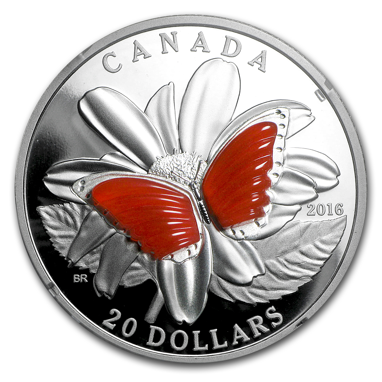 2016 1 oz Proof Silver $20 Butterfly Wings (w/Agate)