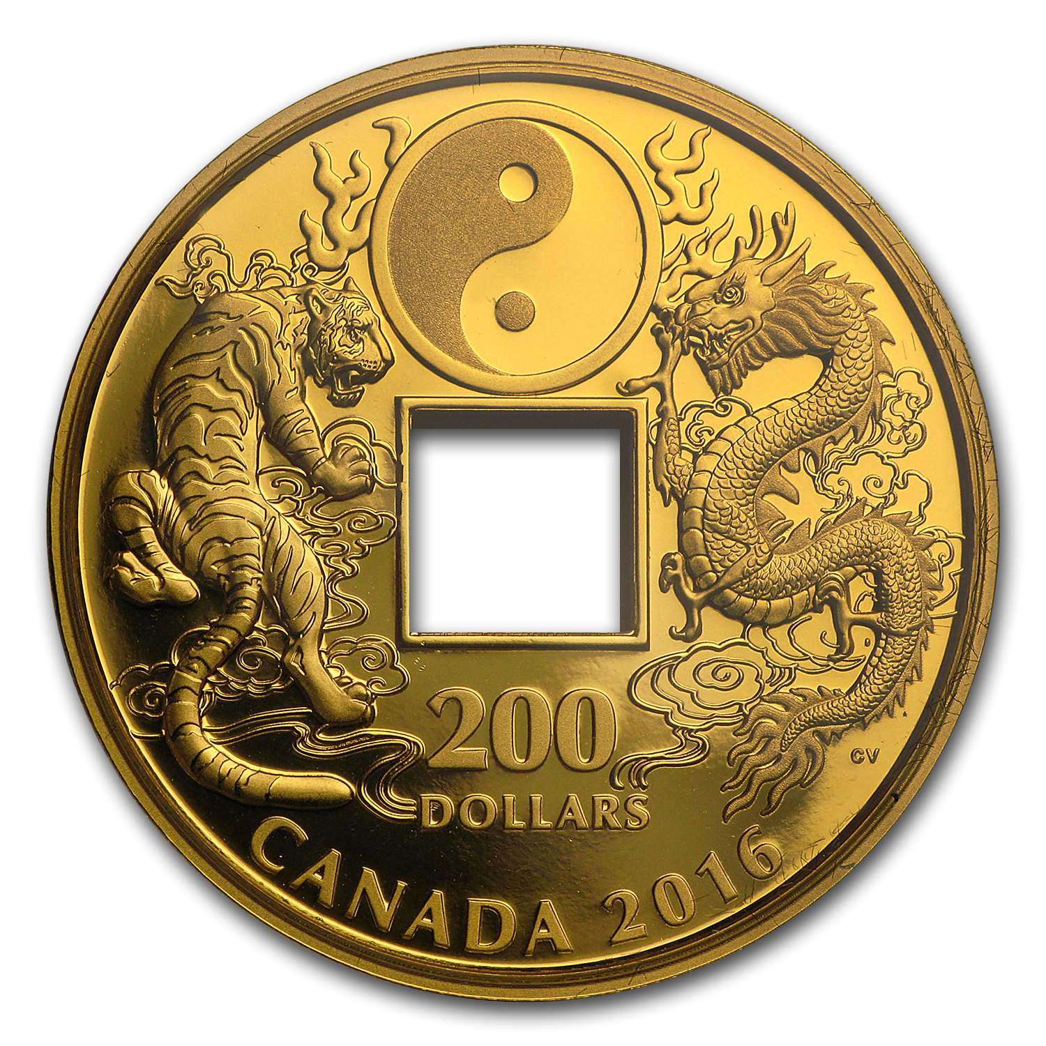2016 1 oz Proof Gold $200 Tiger and Dragon Yin & Yang