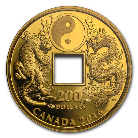 2016 1 Oz Proof Gold 200 Tiger And Dragon Yin And Yang