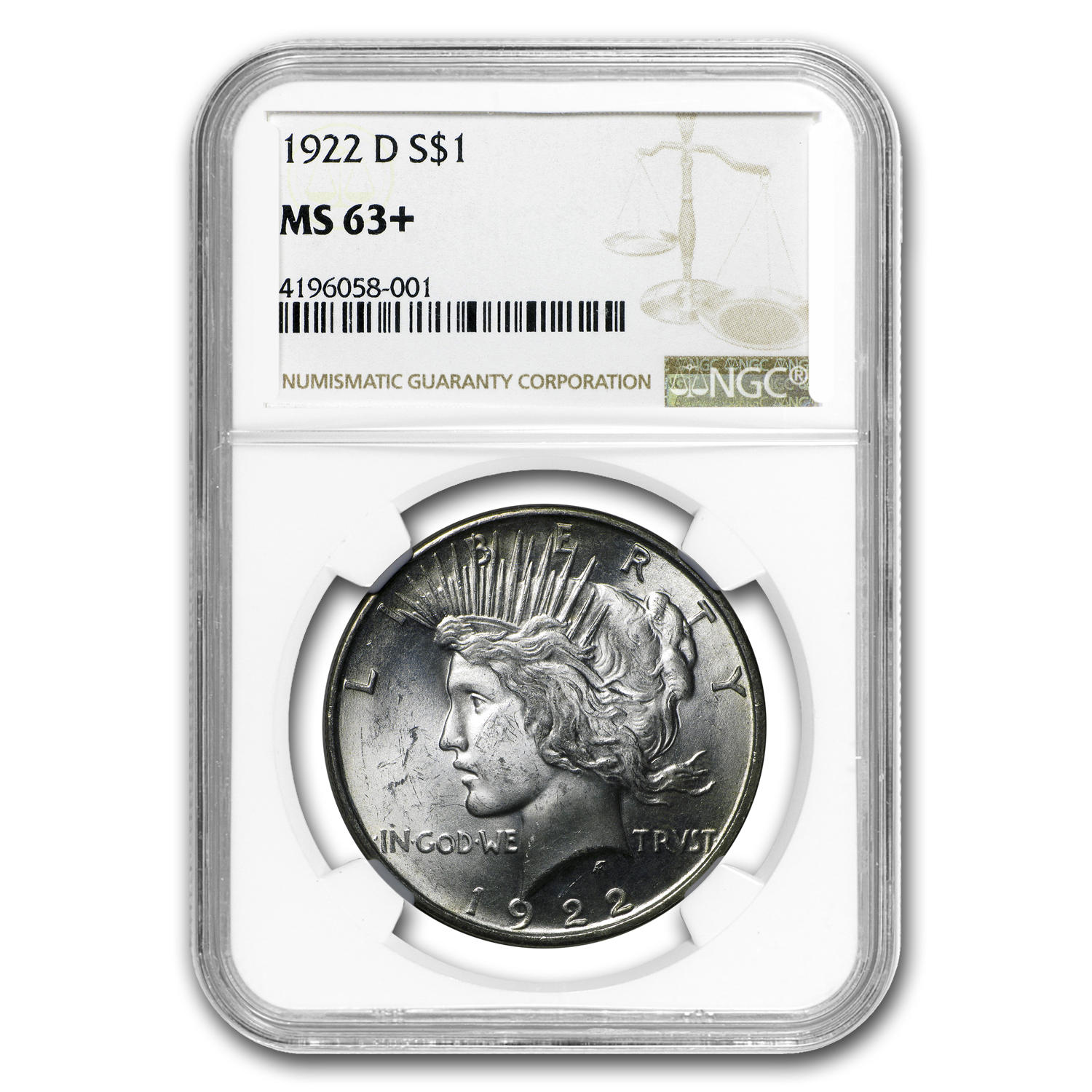 1922-D Peace Dollar MS-63+ NGC