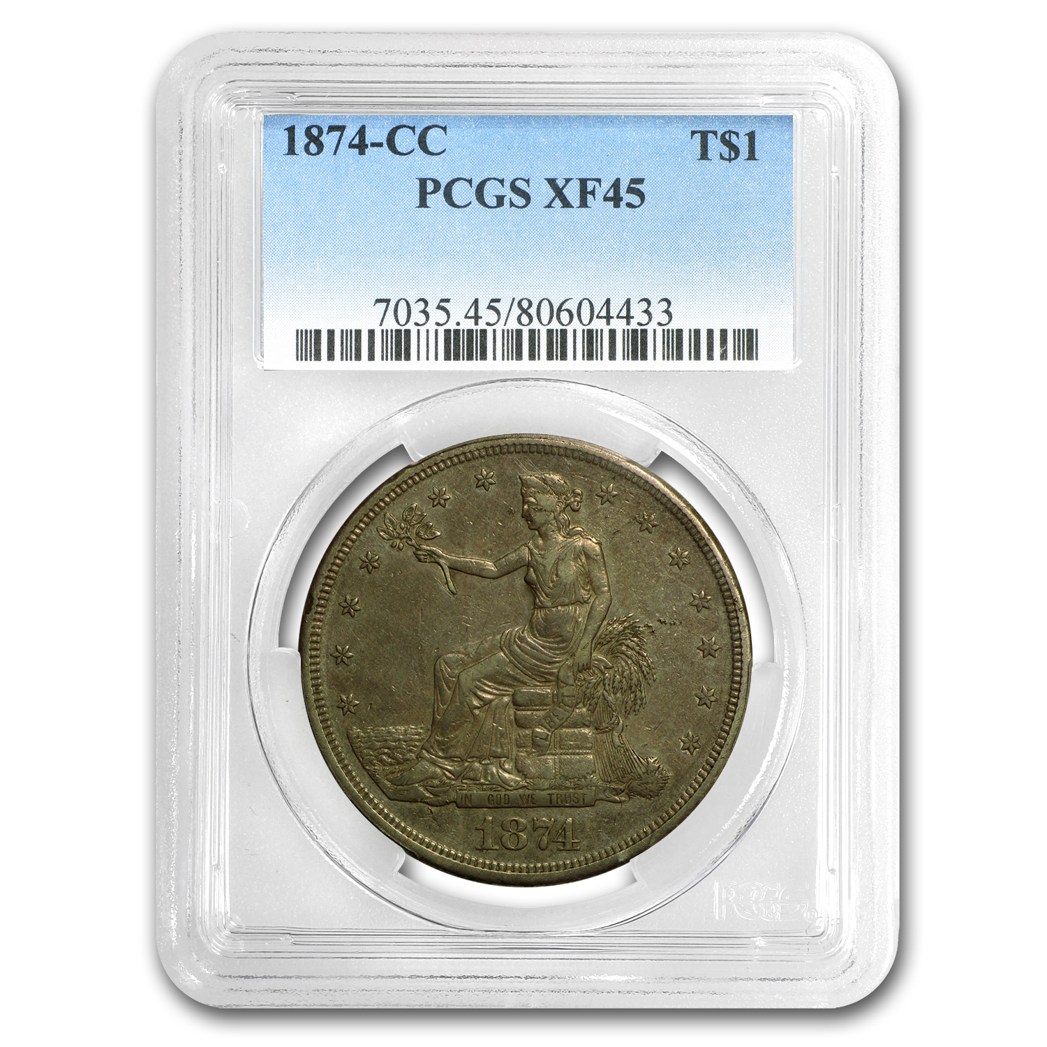 1874-CC Trade Dollar XF-45 PCGS