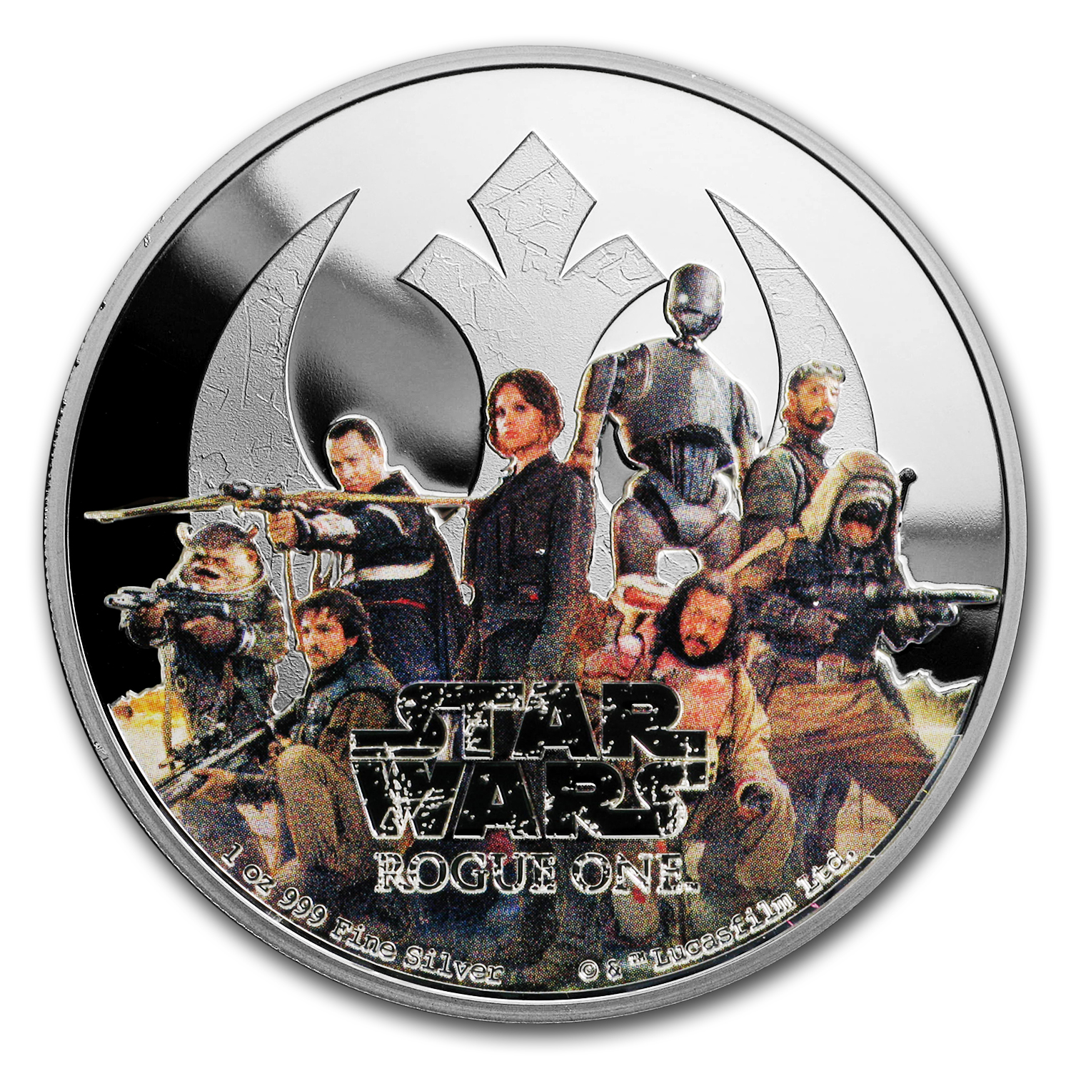 2016 1 oz Silver $2 Star Wars Rogue One Rebellion (w/Box & COA)