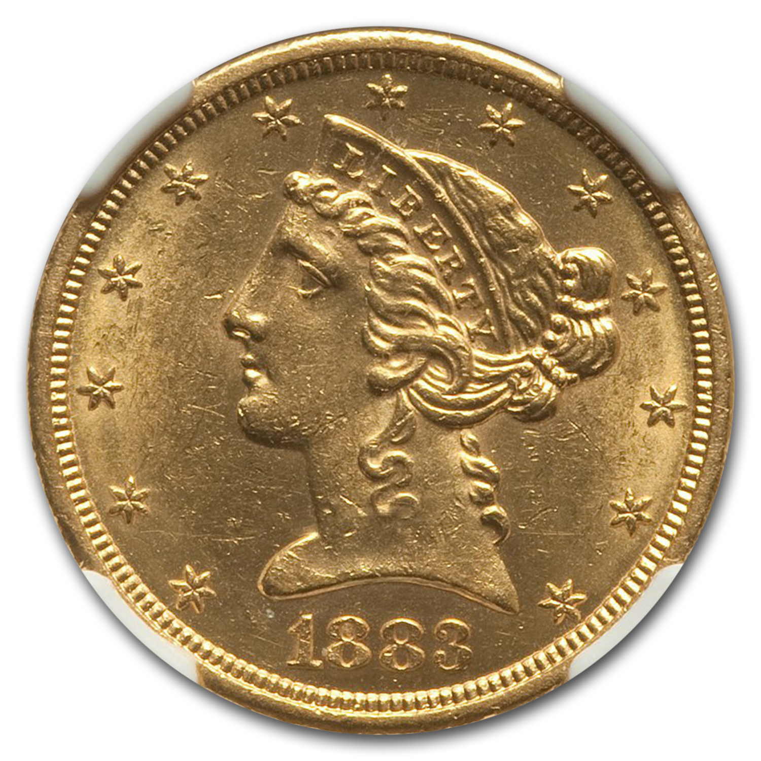 1883-S $5 Liberty Gold Half Eagle MS-62 NGC