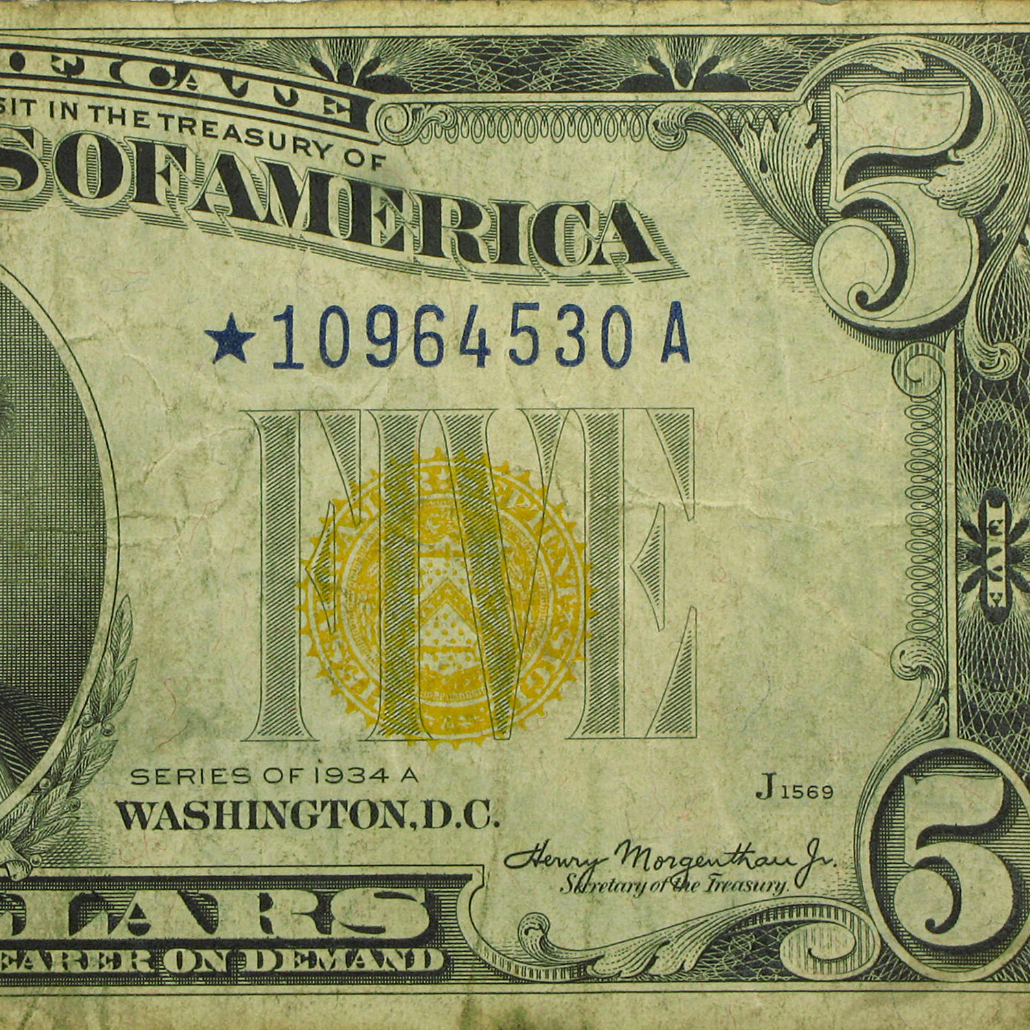 1934-A* $5.00 Yellow Seal North Africa Fine (Star Note)