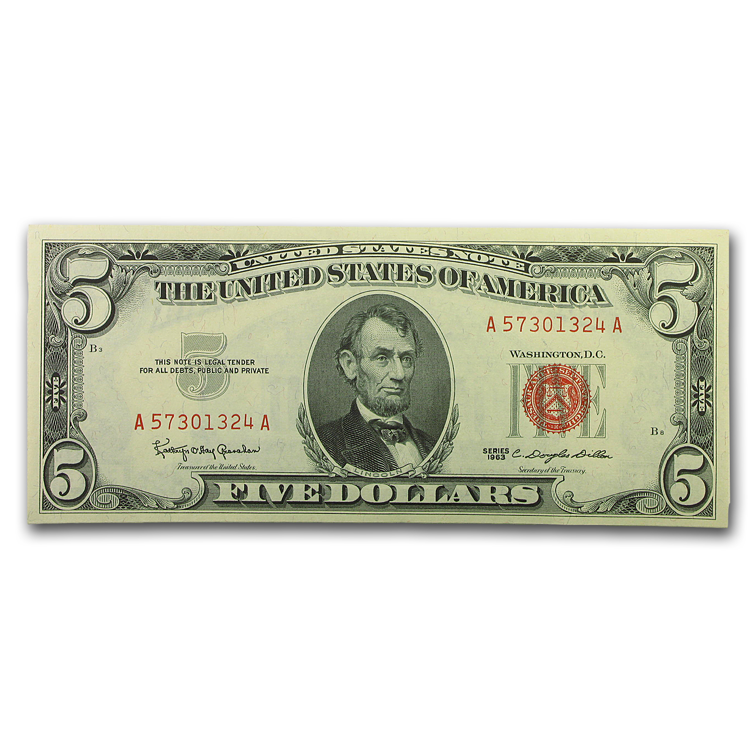1963 $5.00 U.S. Note Red Seal CU