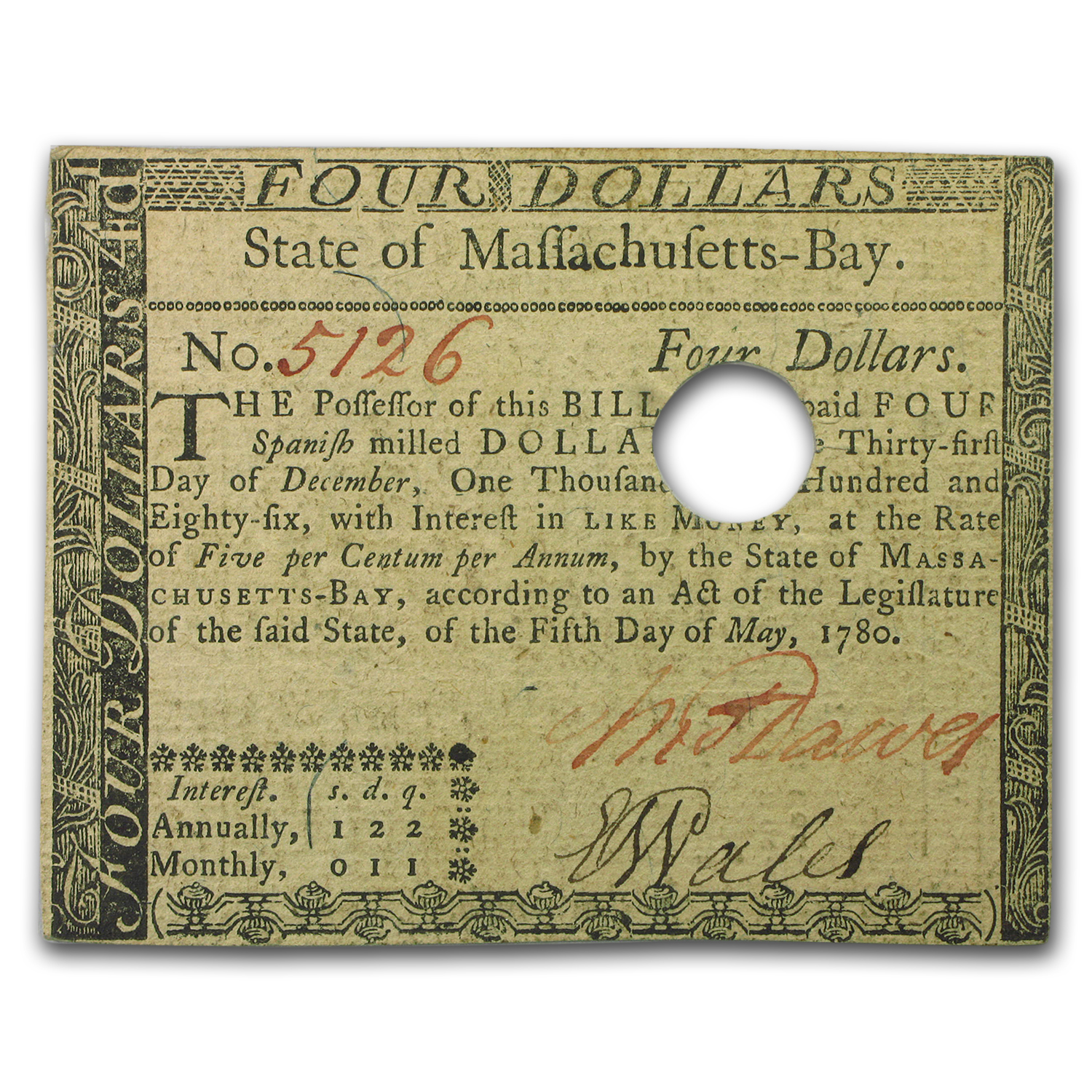 1780 $4 Massachusetts Currency 5/5/1780 AU-55 PMG (Cancelled)