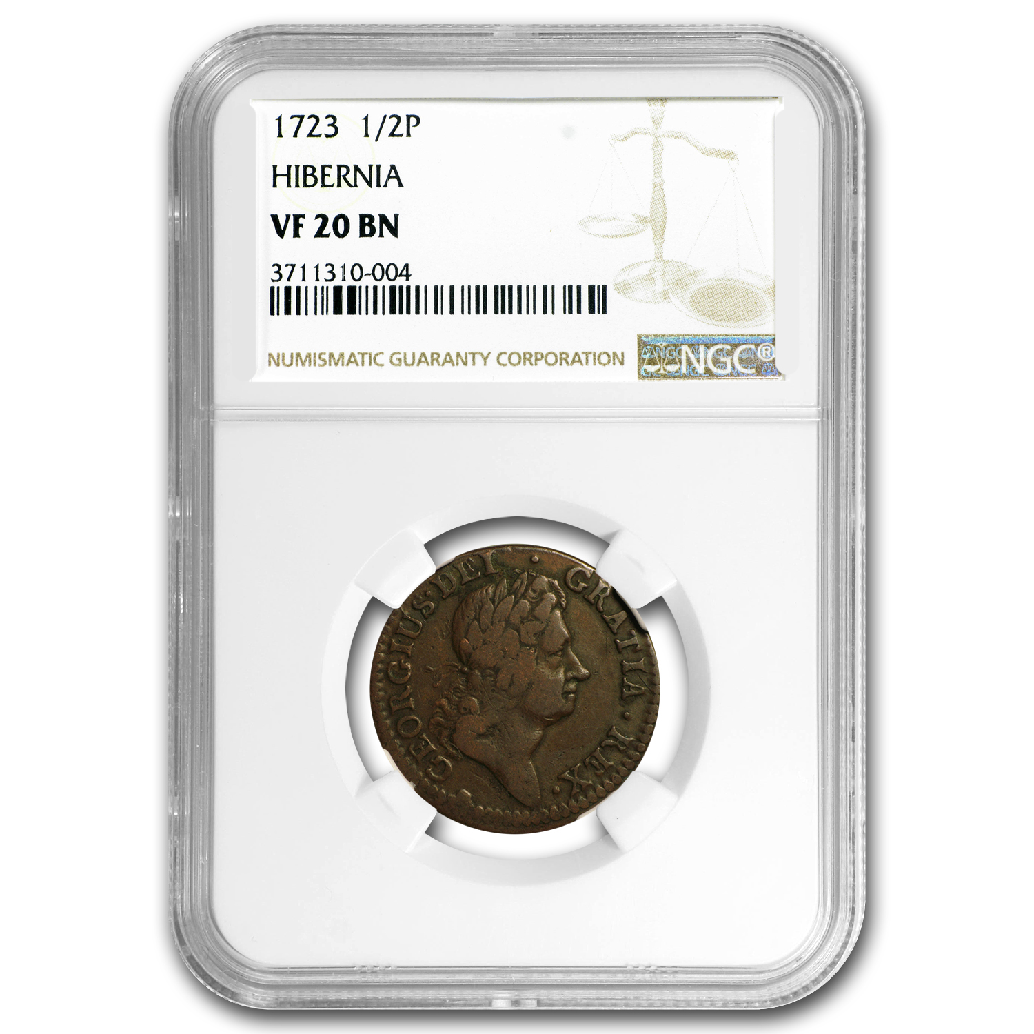 1723 Wood's Hibernia Halfpenny Harp Right VF-20 NGC