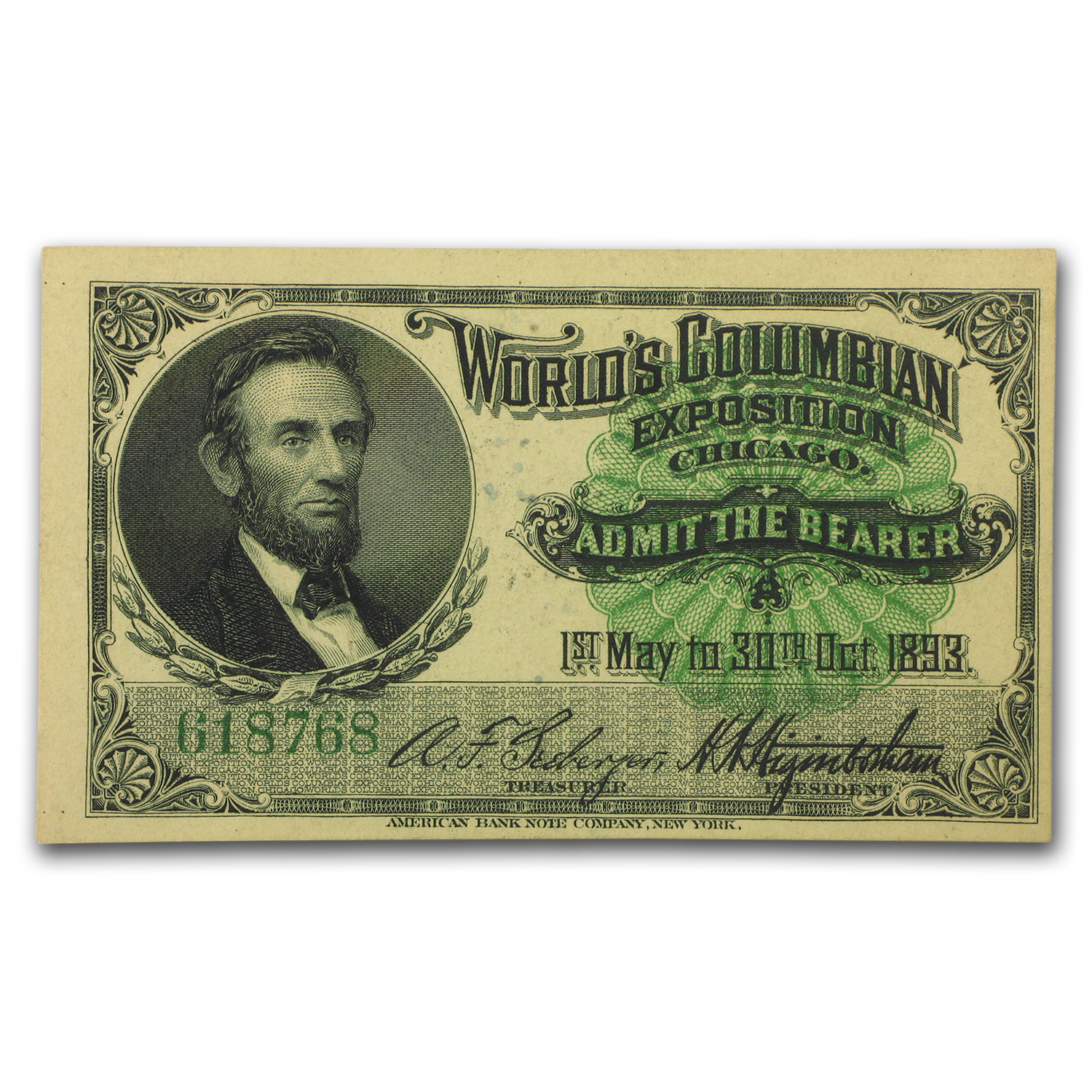 1893 Columbian Expo Ticket Abraham Lincoln CU-63 PMG