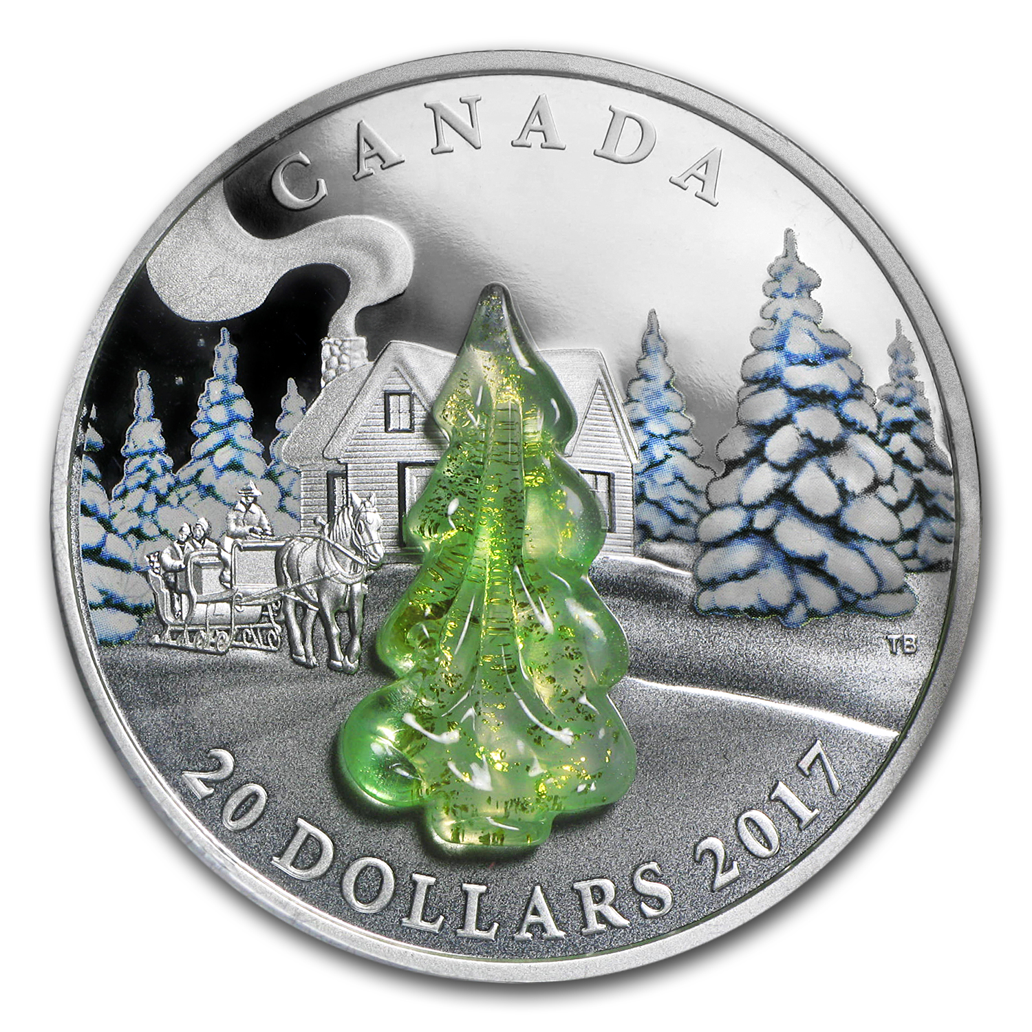 2017 Canada 1 oz Proof Silver $20 Snow-Covered Trees
