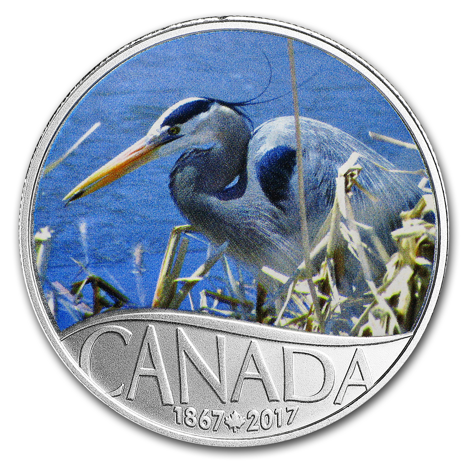 2017 Canada 1/2 oz Ag $10 Celebrating Canada's 150th: Blue Heron