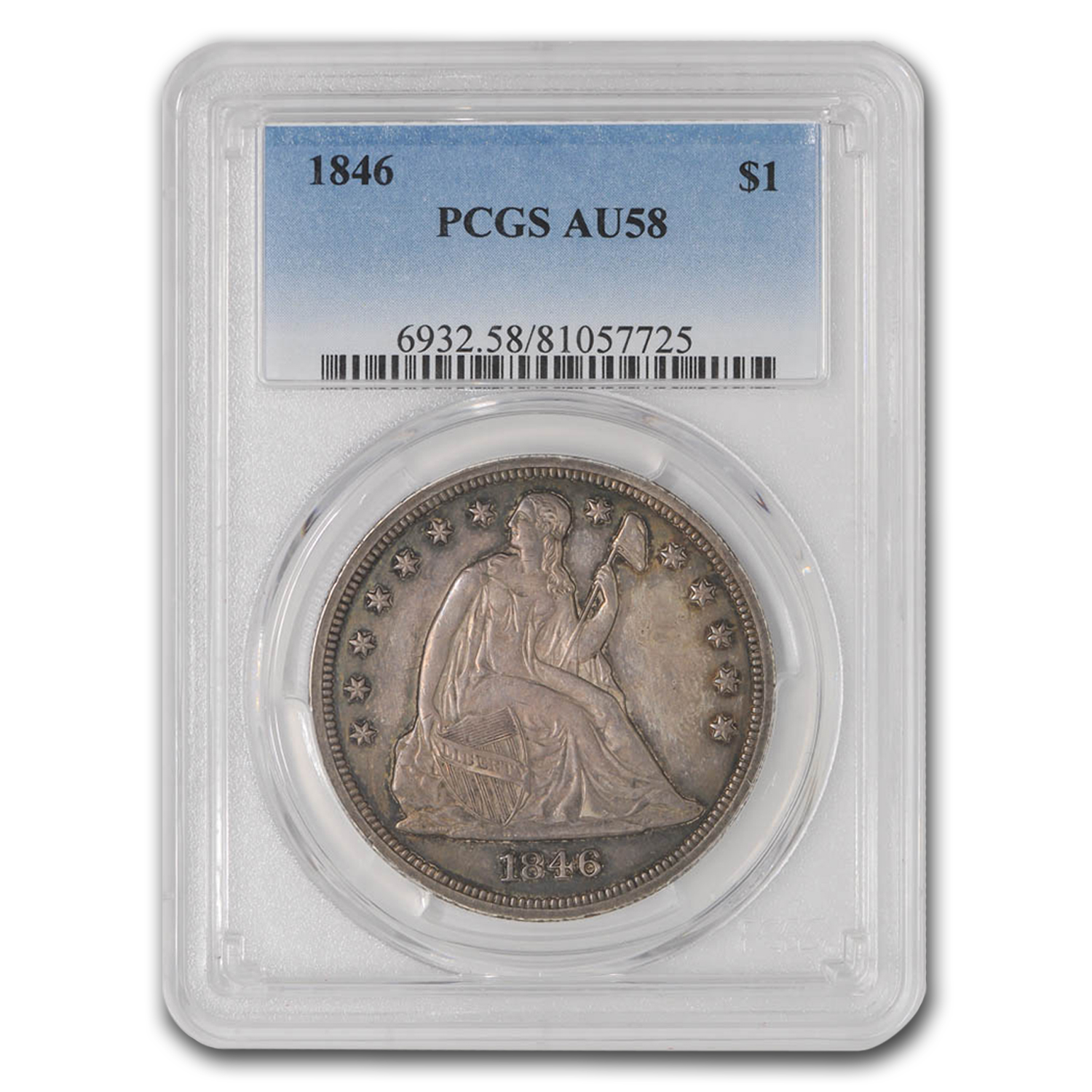 1846 Seated Liberty Dollar AU-58 PCGS