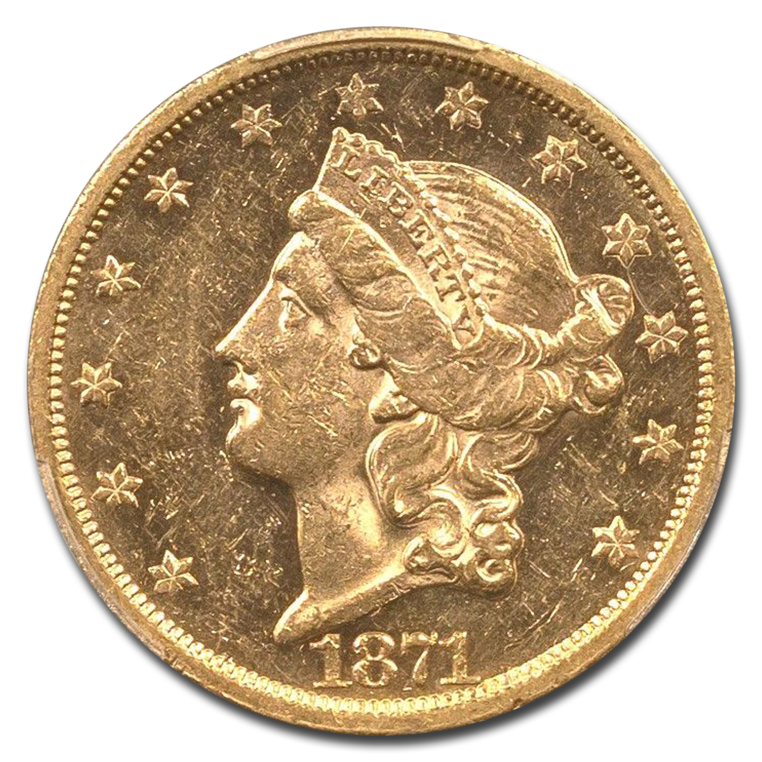 1871-S $20 Liberty Gold Double Eagle MS-61 PCGS
