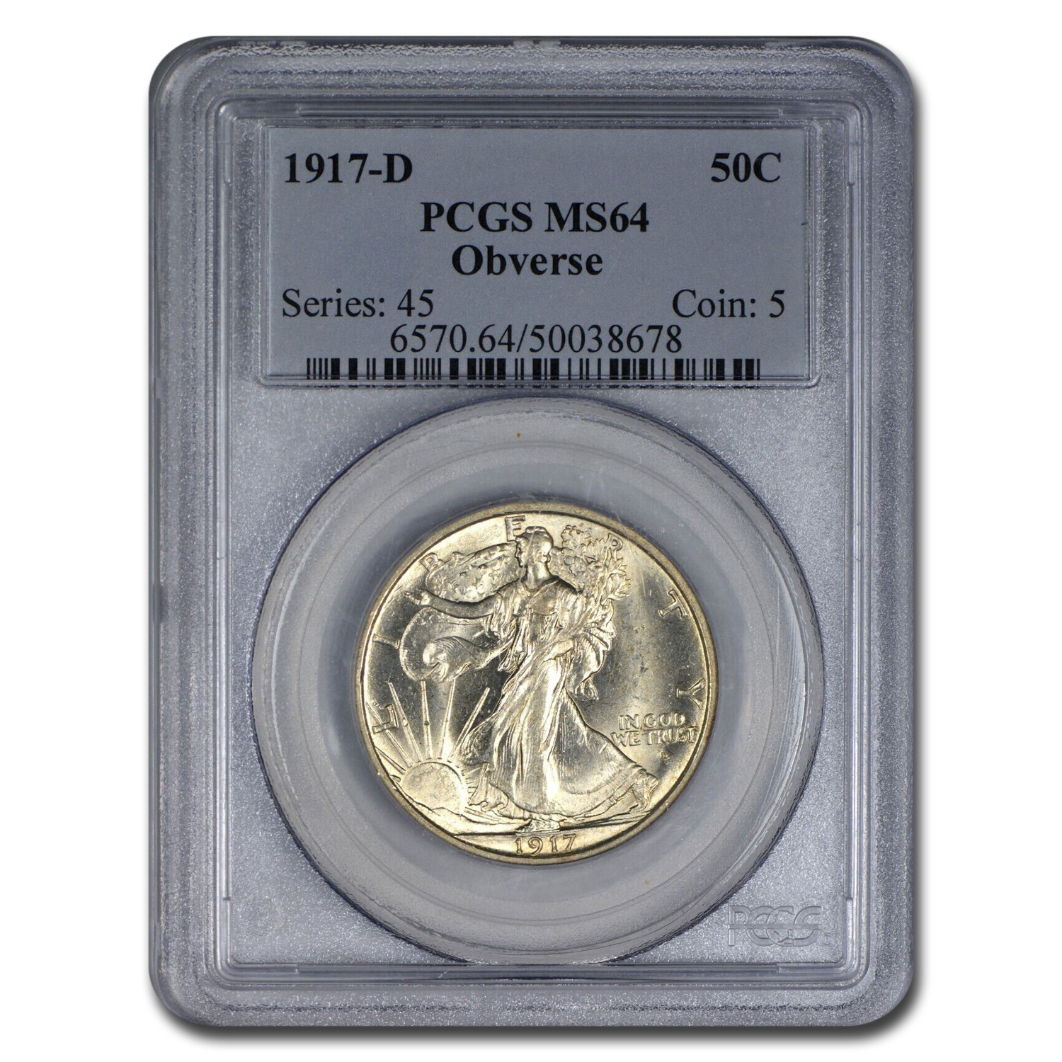 1917-D Obverse Walking Liberty Half Dollar MS-64 PCGS
