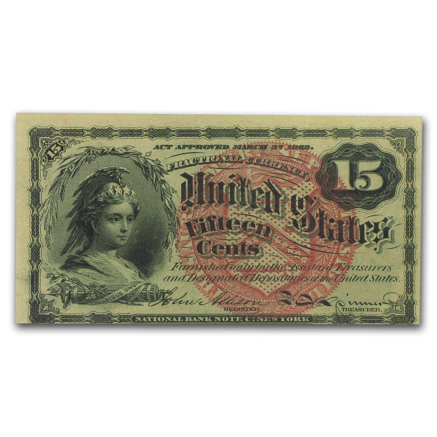 4th Issue Fractional Currency 15 Cents CU-63 PMG