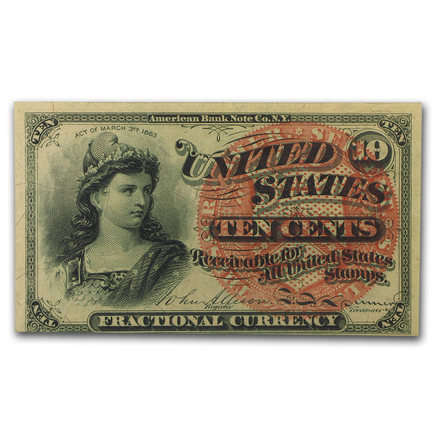 4th Issue Fractional Currency 10 Cents CU-63 EPQ PMG