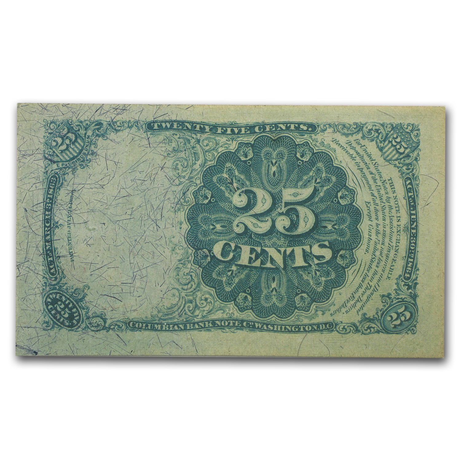 5th Issue Fractional Currency 25 Cents AU-53 EPQ PMG