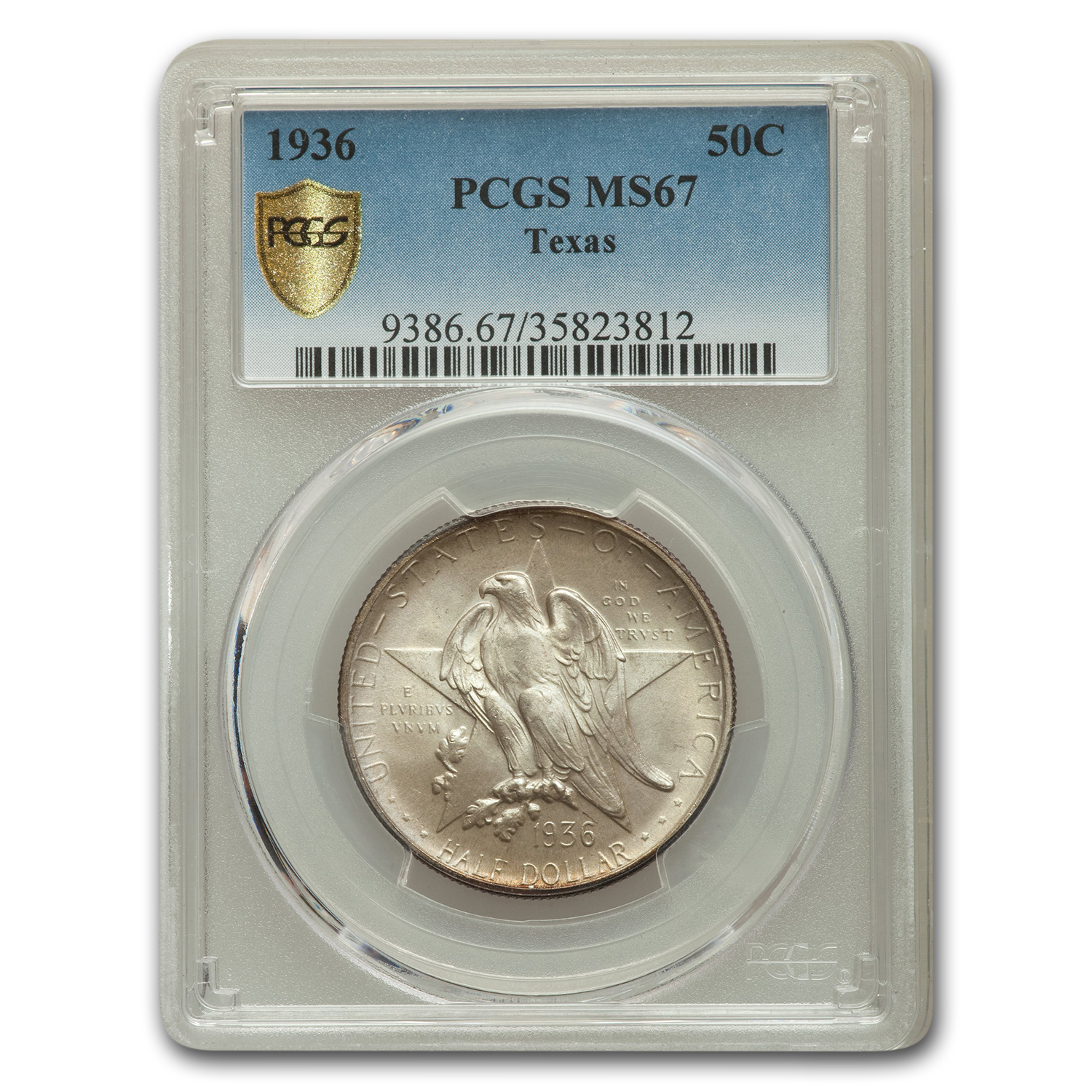 1936 Texas Independence Centennial Commemorative Half MS-67 PCGS