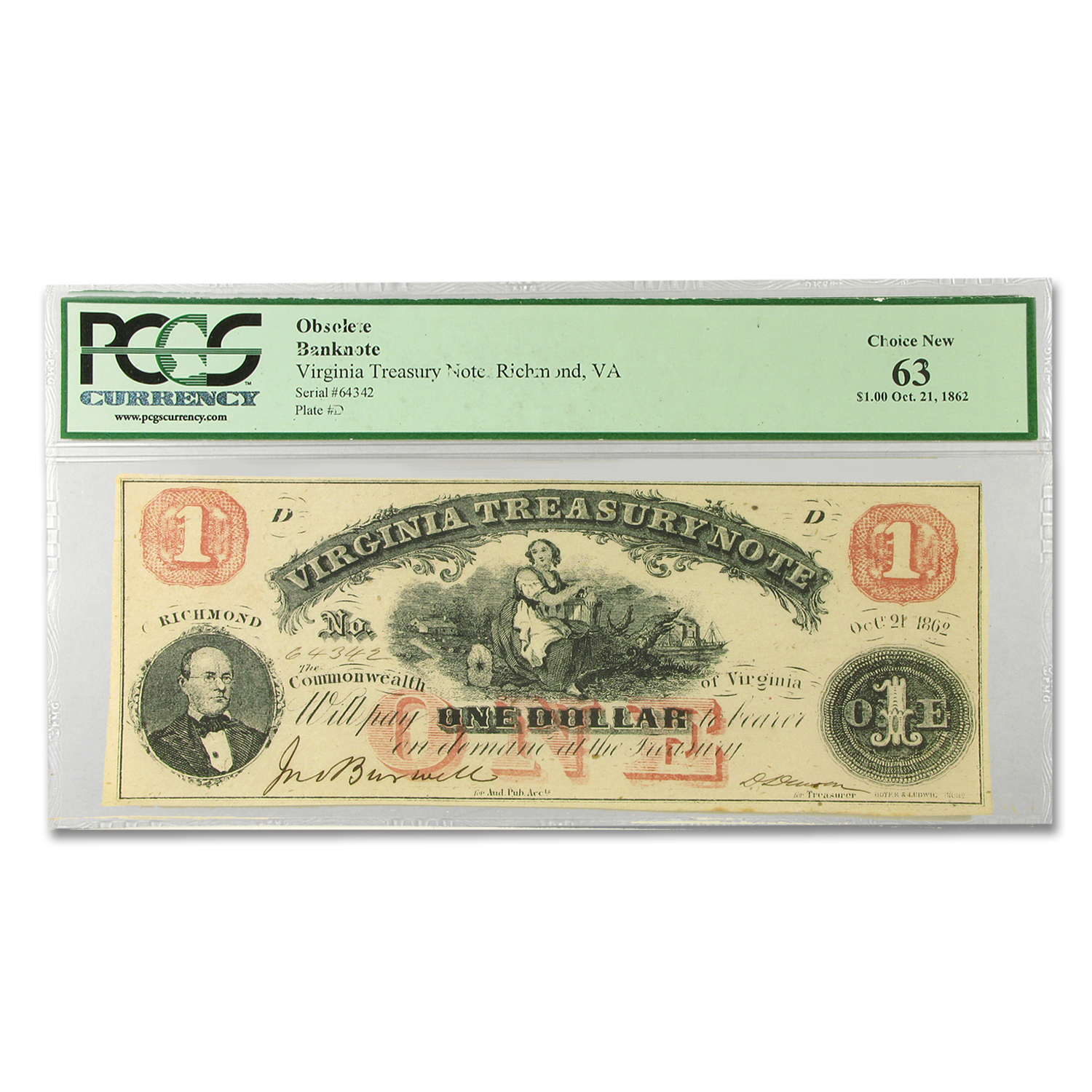 1862 Virginia Treasury Note $1.00 Ch New-63 PCGS (CR #-18)