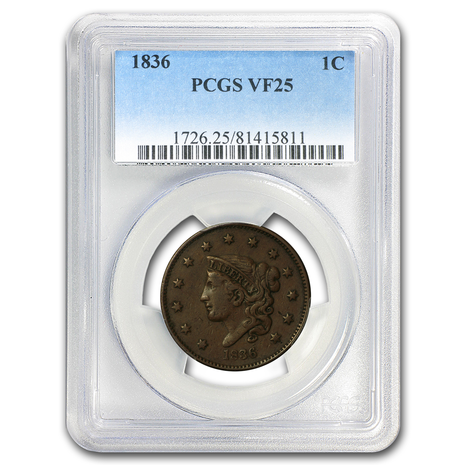 1836 Large Cent VF-25 PCGS