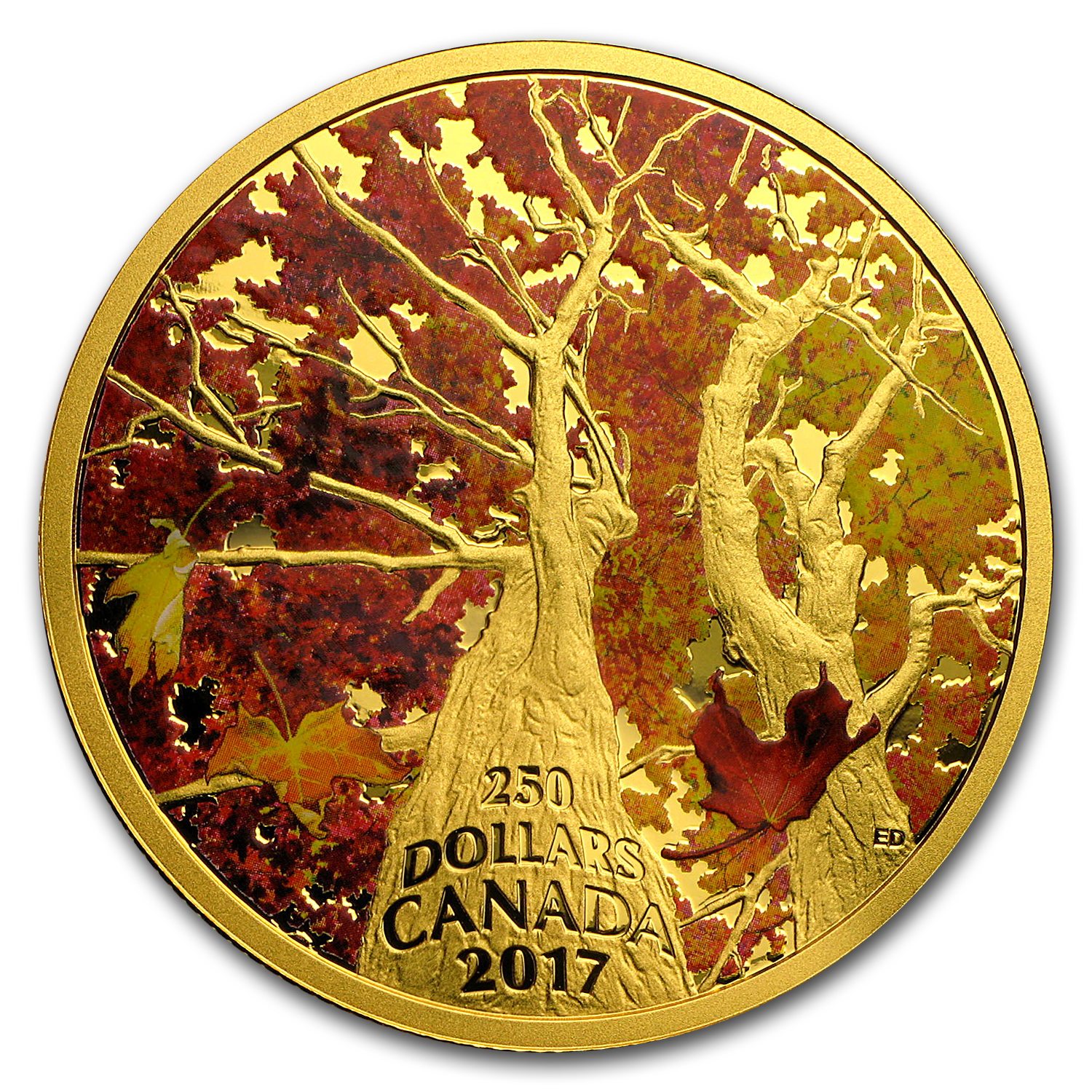 2017 Canada 2 oz Gold $250 Maple Canopy: Kaleidoscope of Color