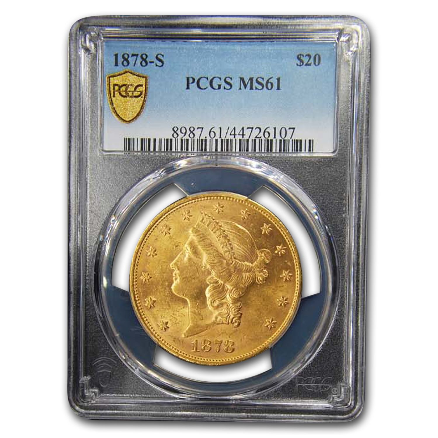 1878-S $20 Liberty Gold Double Eagle MS-61 PCGS