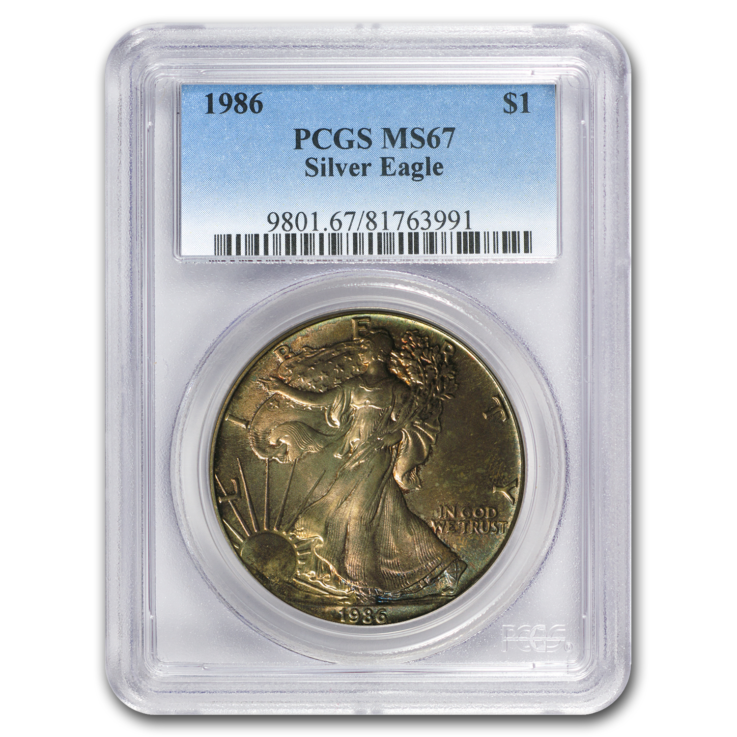 1986 Silver American Eagle MS-67 PCGS (Obv and Rev Toning)