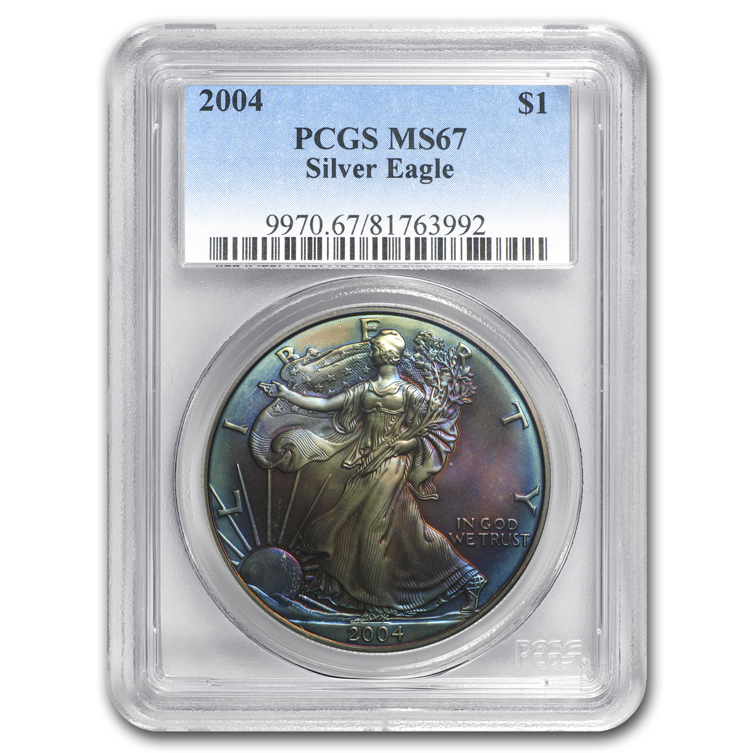 2004 Silver American Eagle MS-67 PCGS (Obv and Rev Toning)