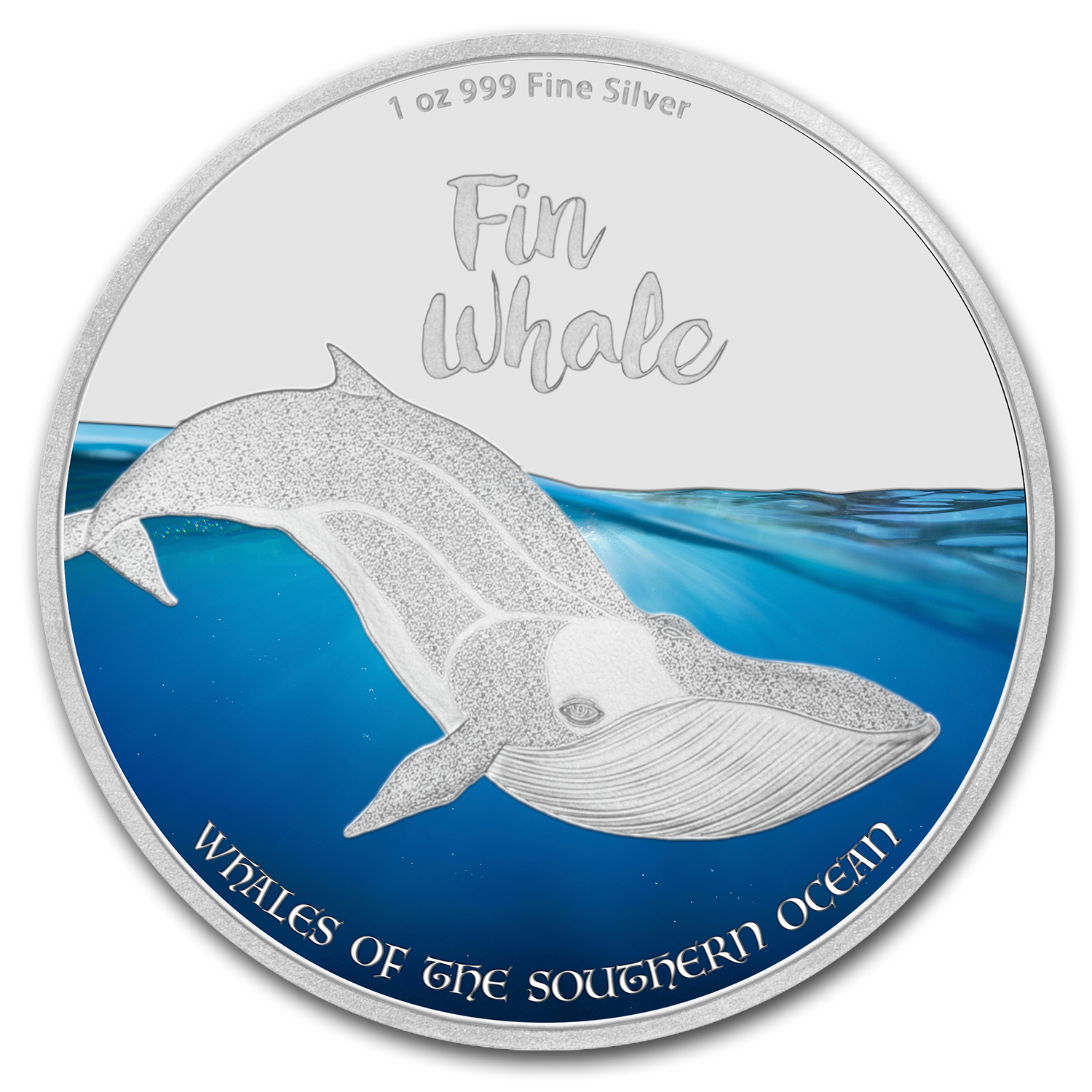 2016 1 oz Silver $2 Whales of the Southern Ocean Fin Whale