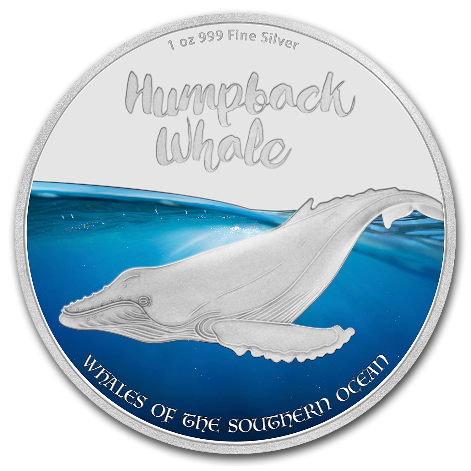 2016 1 oz Silver $2 Whales of the Southern Ocean Humpback Whale