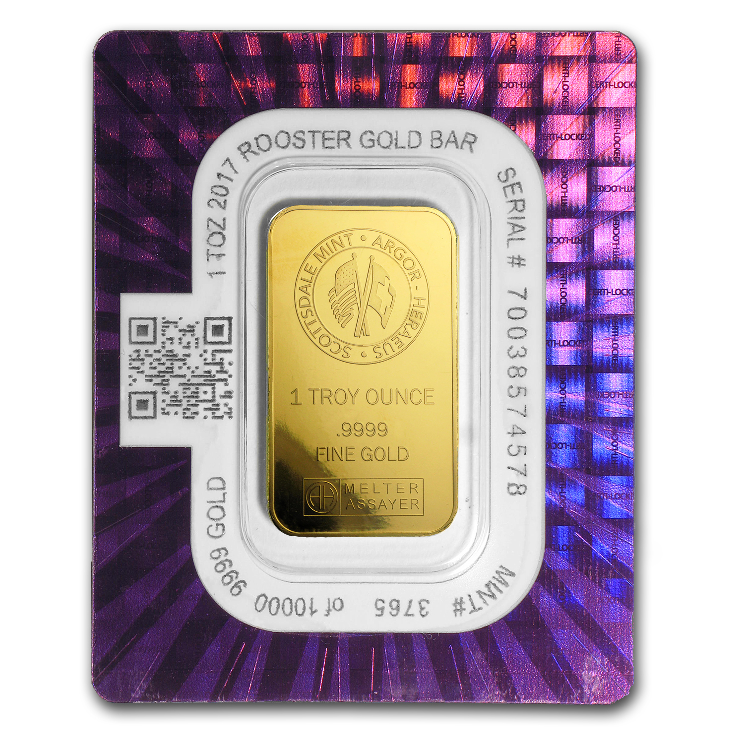1 oz Gold Bar - 2017 Year of the Rooster (In Certi-Lock® Assay)