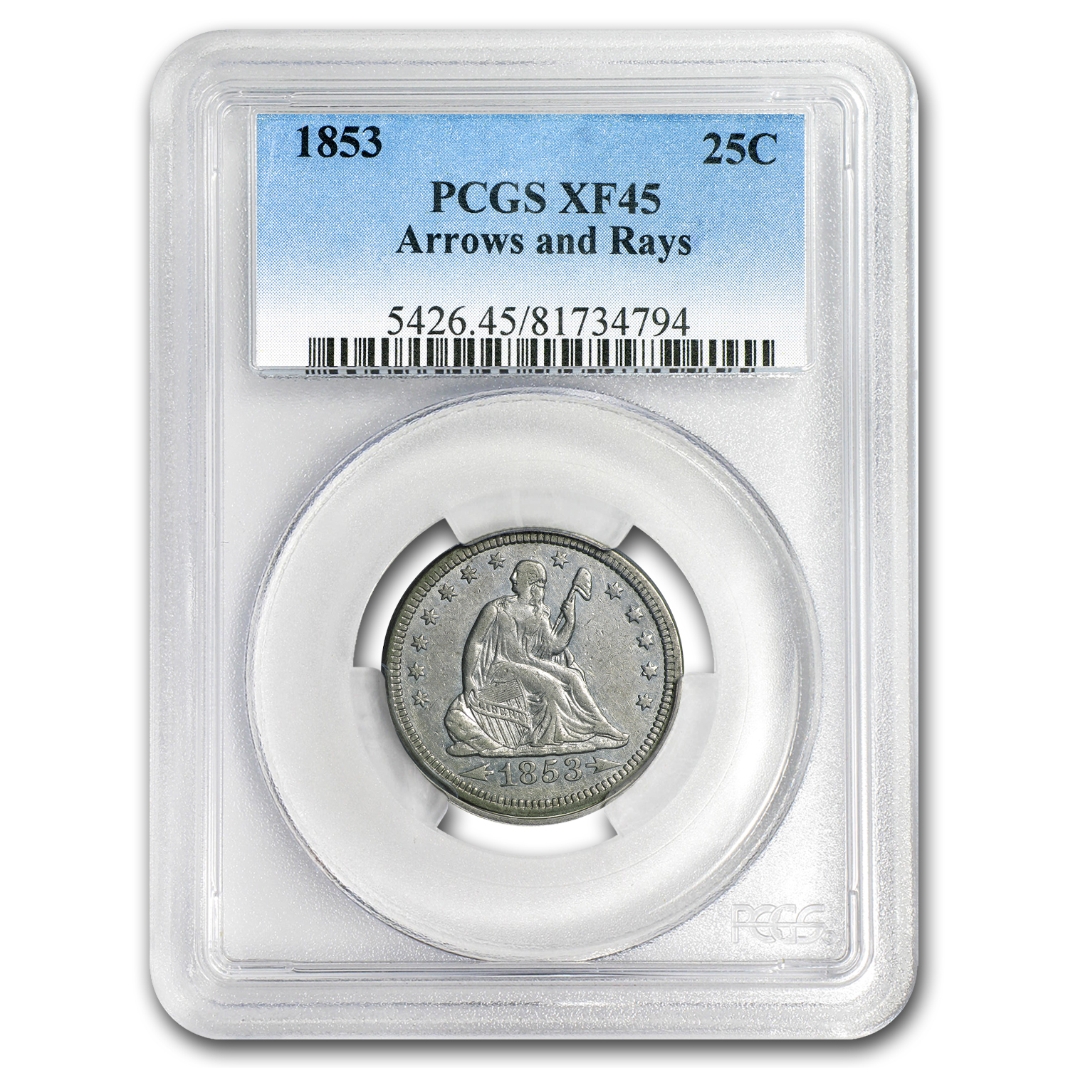 1853 Liberty Seated Quarter Arrows and Rays XF-45 PCGS