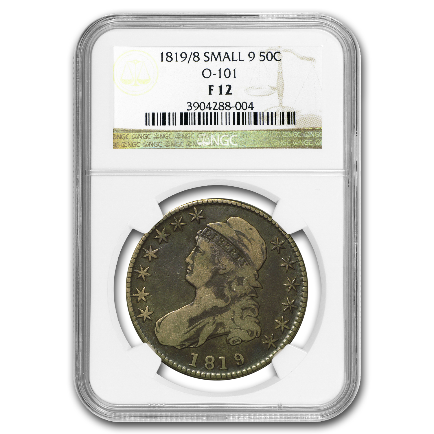 1819/8 Capped Bust Half Dollar F-12 NGC
