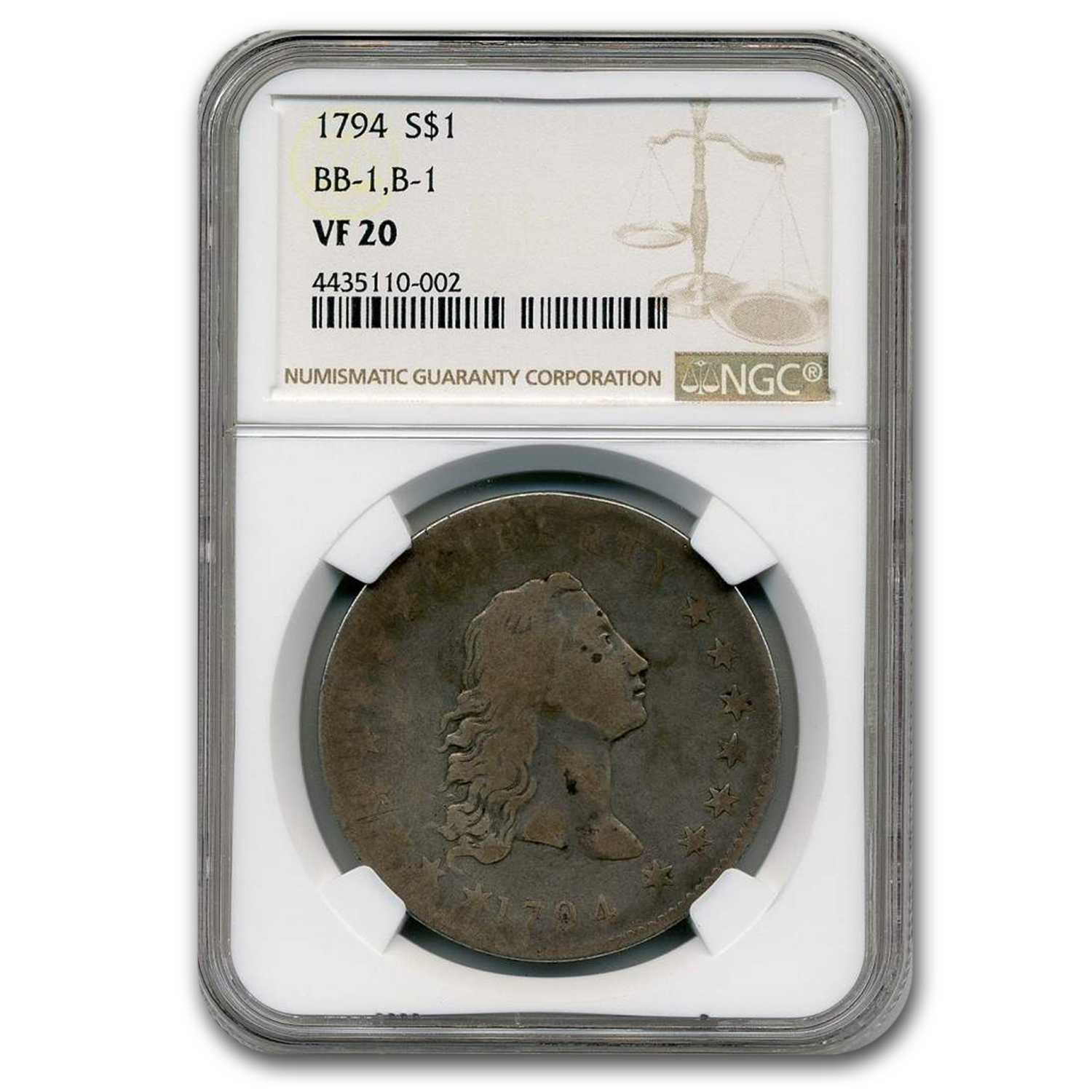 1794 BB-1, B-1 Flowing Hair Silver Dollar VF-20 NGC