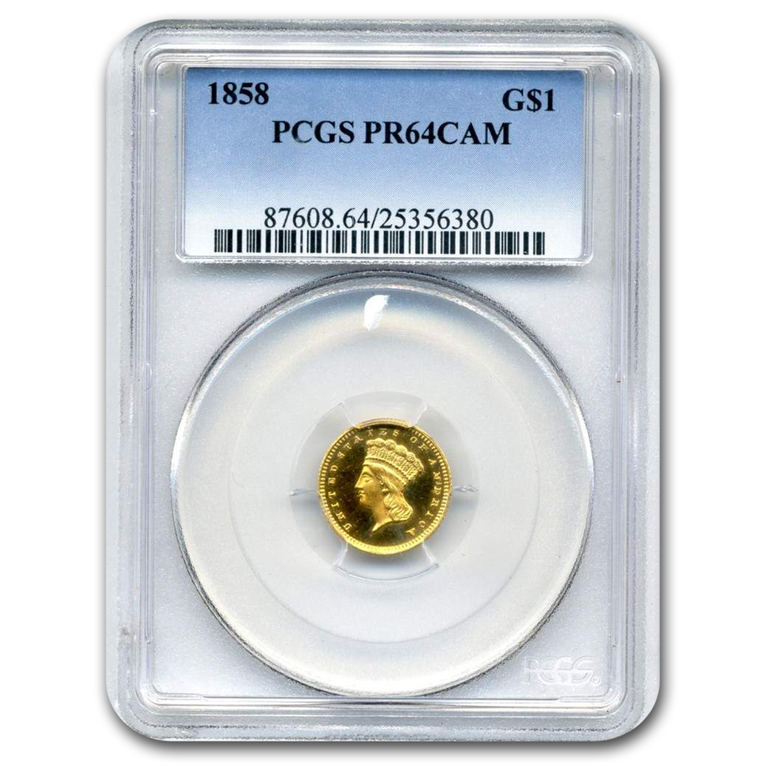 1858 $1 Indian Head Gold PR-64 Cameo PCGS
