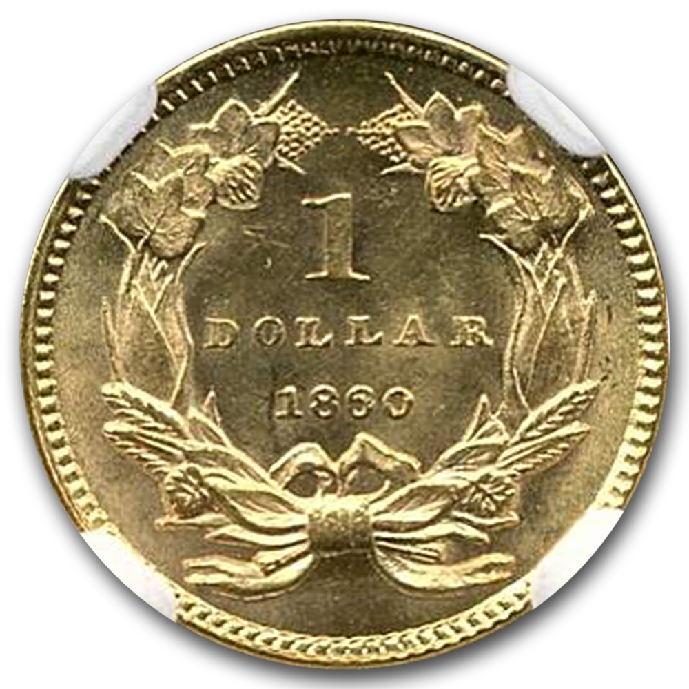 1860 $1 Indian Head Gold MS-65 NGC