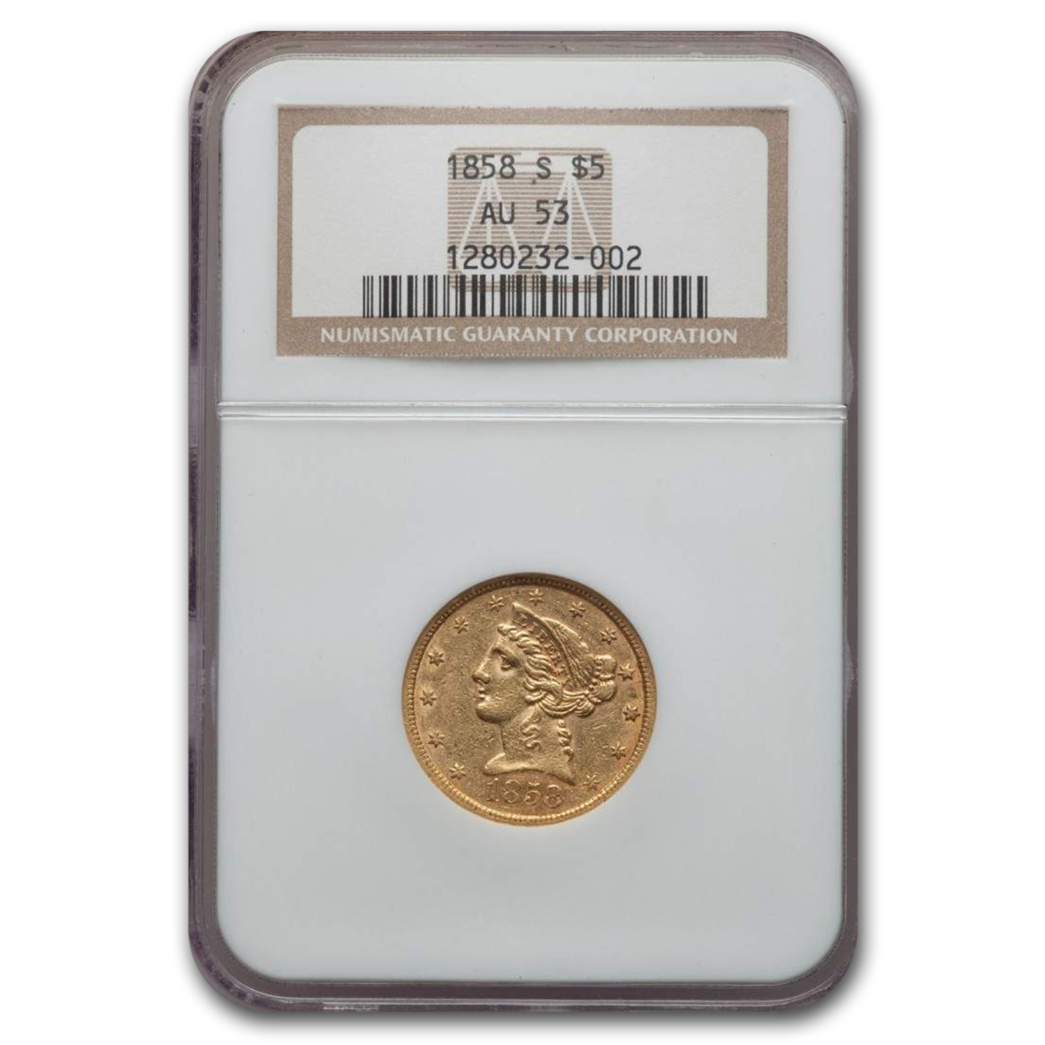 1858-S $5 Liberty Gold Half Eagle AU-53 NGC