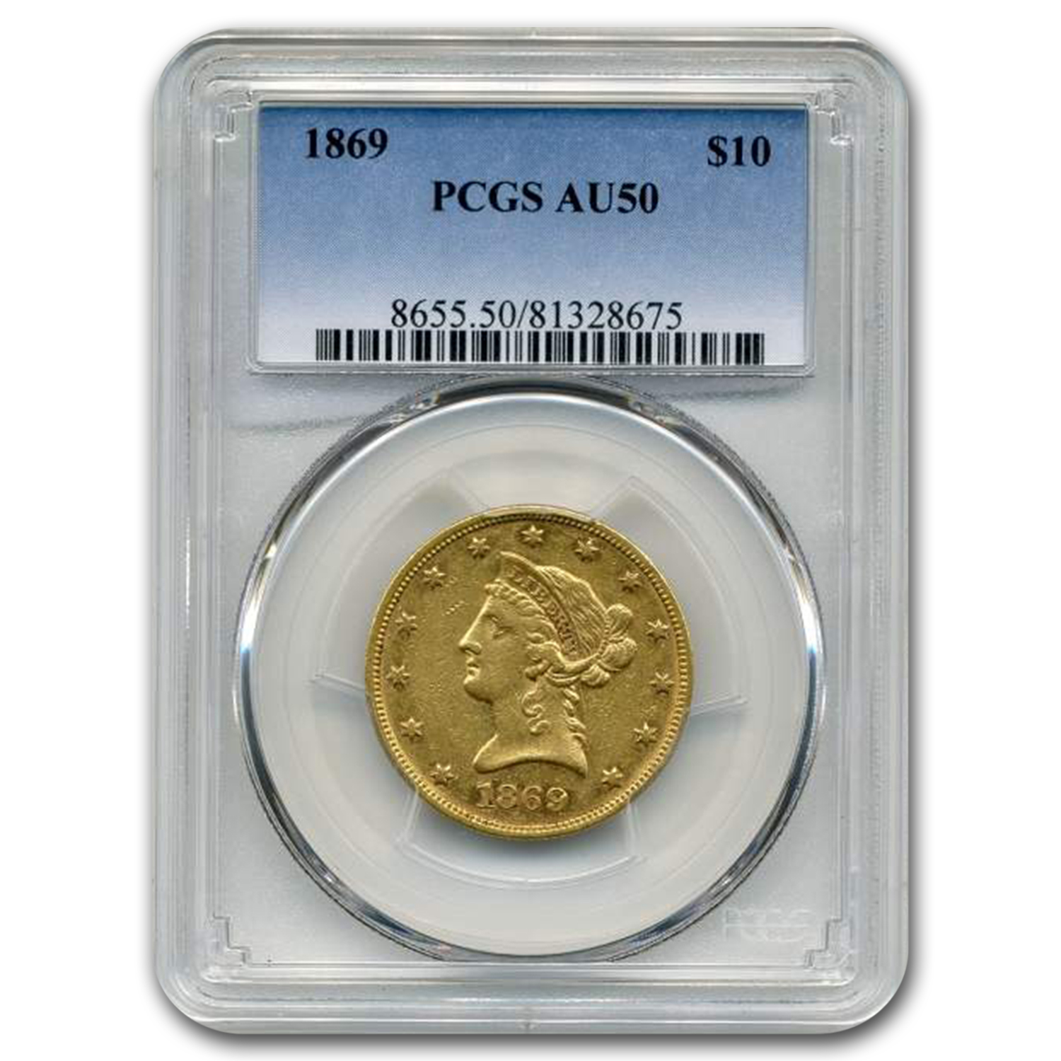 1869 $10 Liberty Gold Eagle AU-50 PCGS