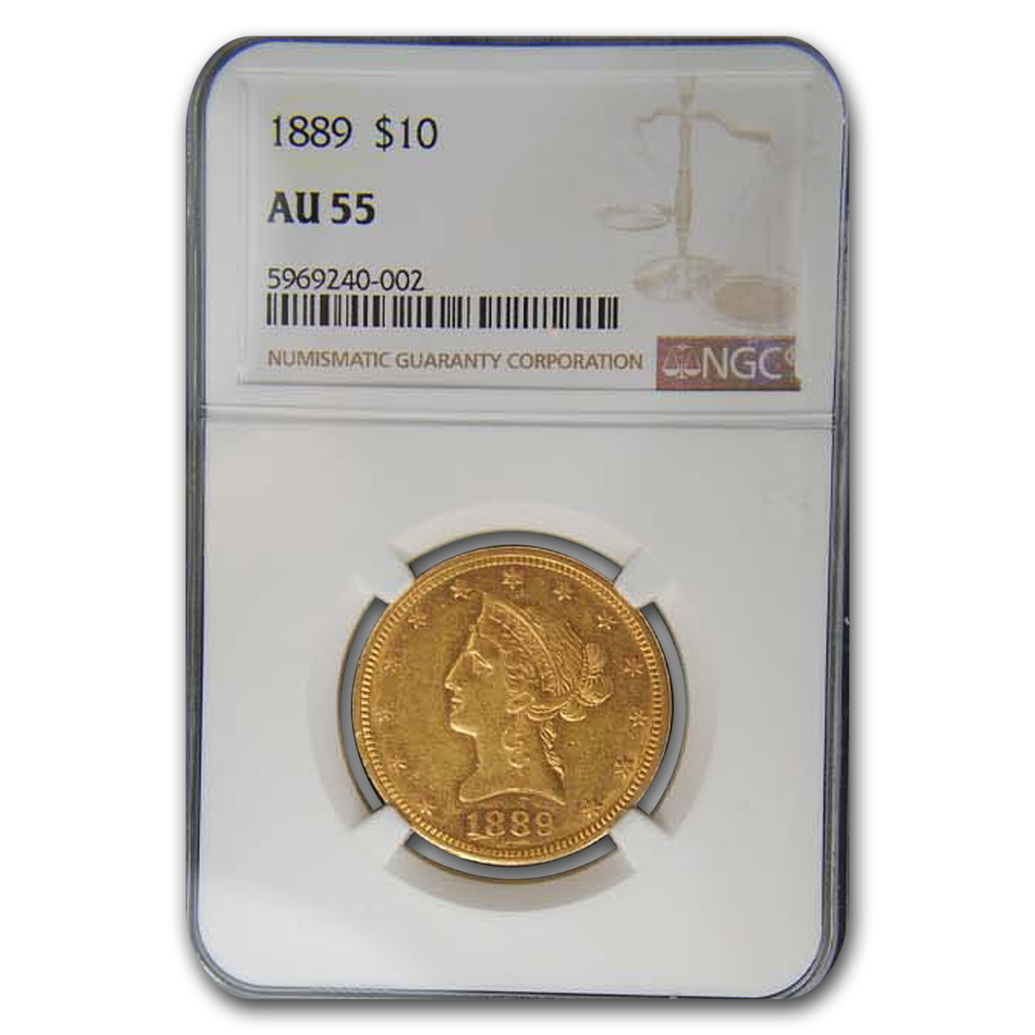 1889 $10 Liberty Gold Eagle AU-55 NGC