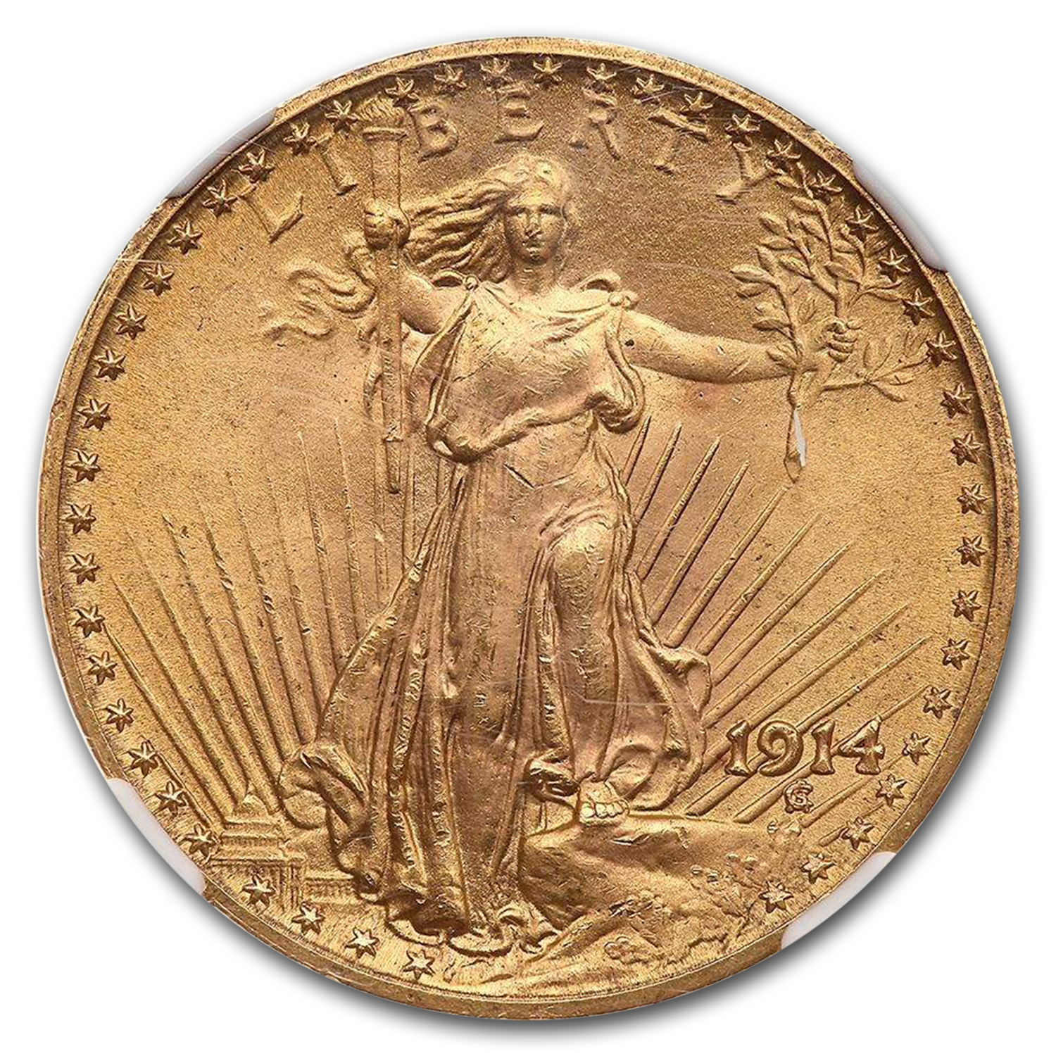 1914 $20 St. Gaudens Gold Double Eagle W/Motto MS-65 NGC