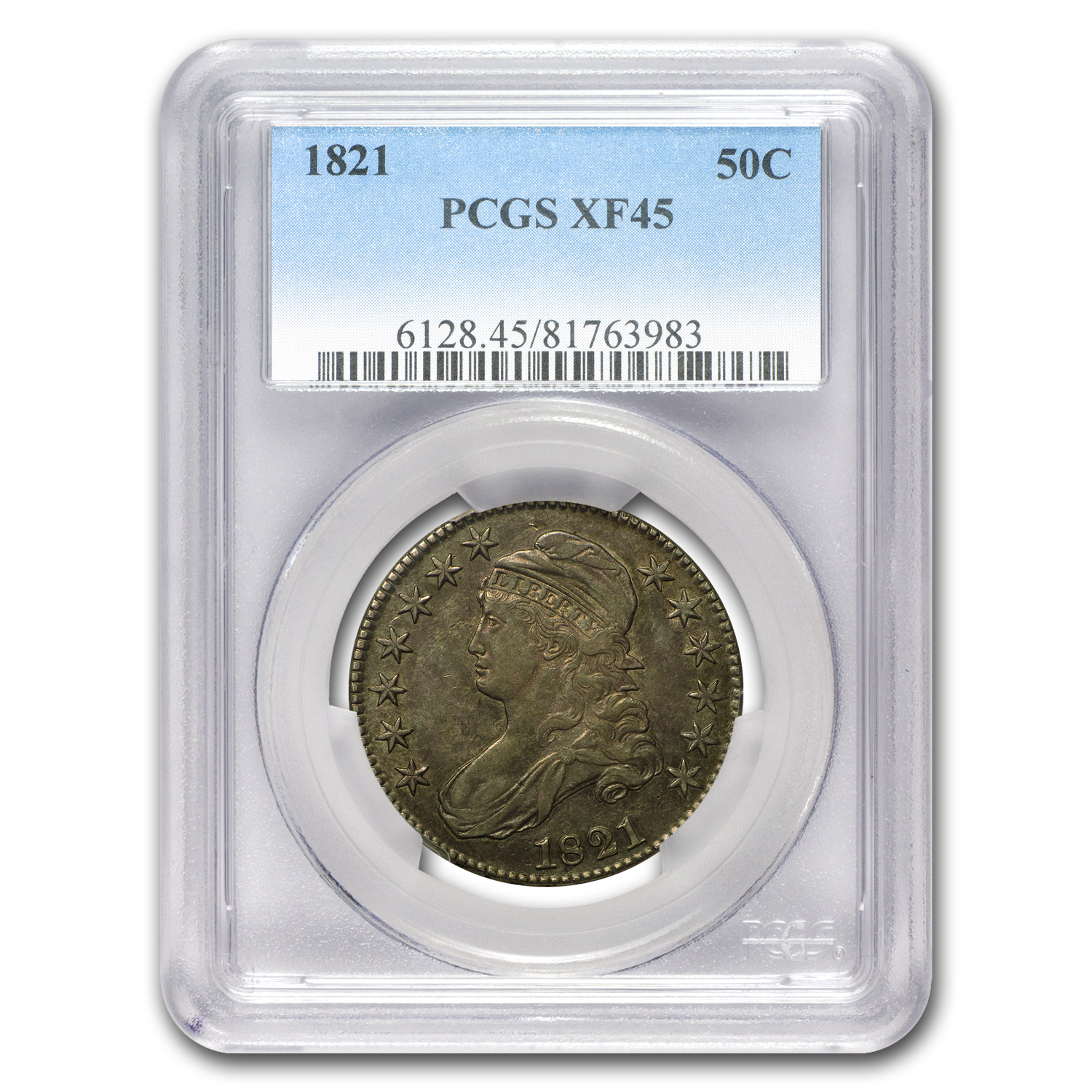 1821 Capped Bust Half Dollar XF-45 PCGS
